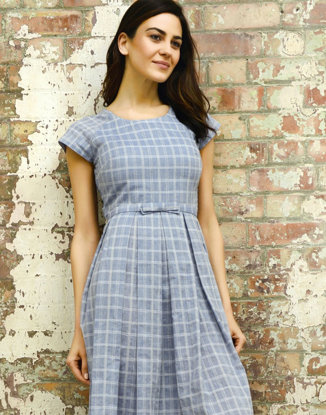 FEVER Mary Retro 1950s Short Sleeve Vintage Check Prom Dress Blue
