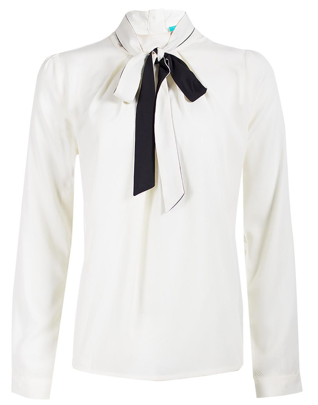 Pippa FEVER Retro Vintage Bow Collar Shirt - Cream