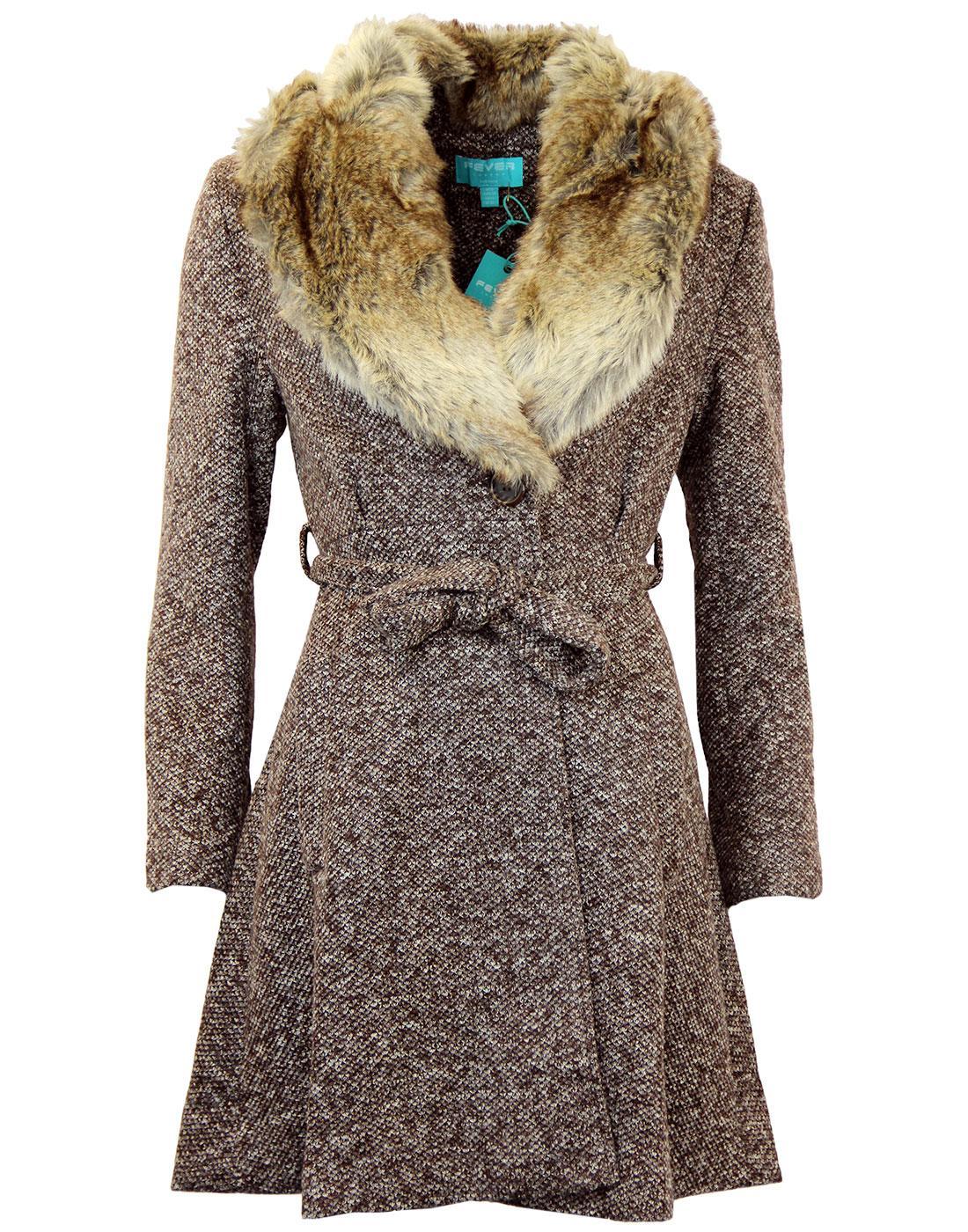 FEVER Manhattan Retro 60s Faux Fur Collar Belted Tweed Coat Brown
