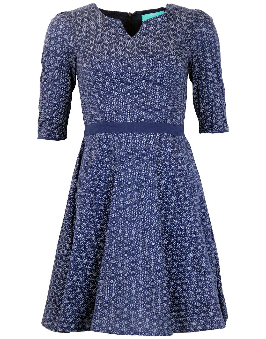 FEVER Retro 60s Geometric Print Mod Mosaic Dress