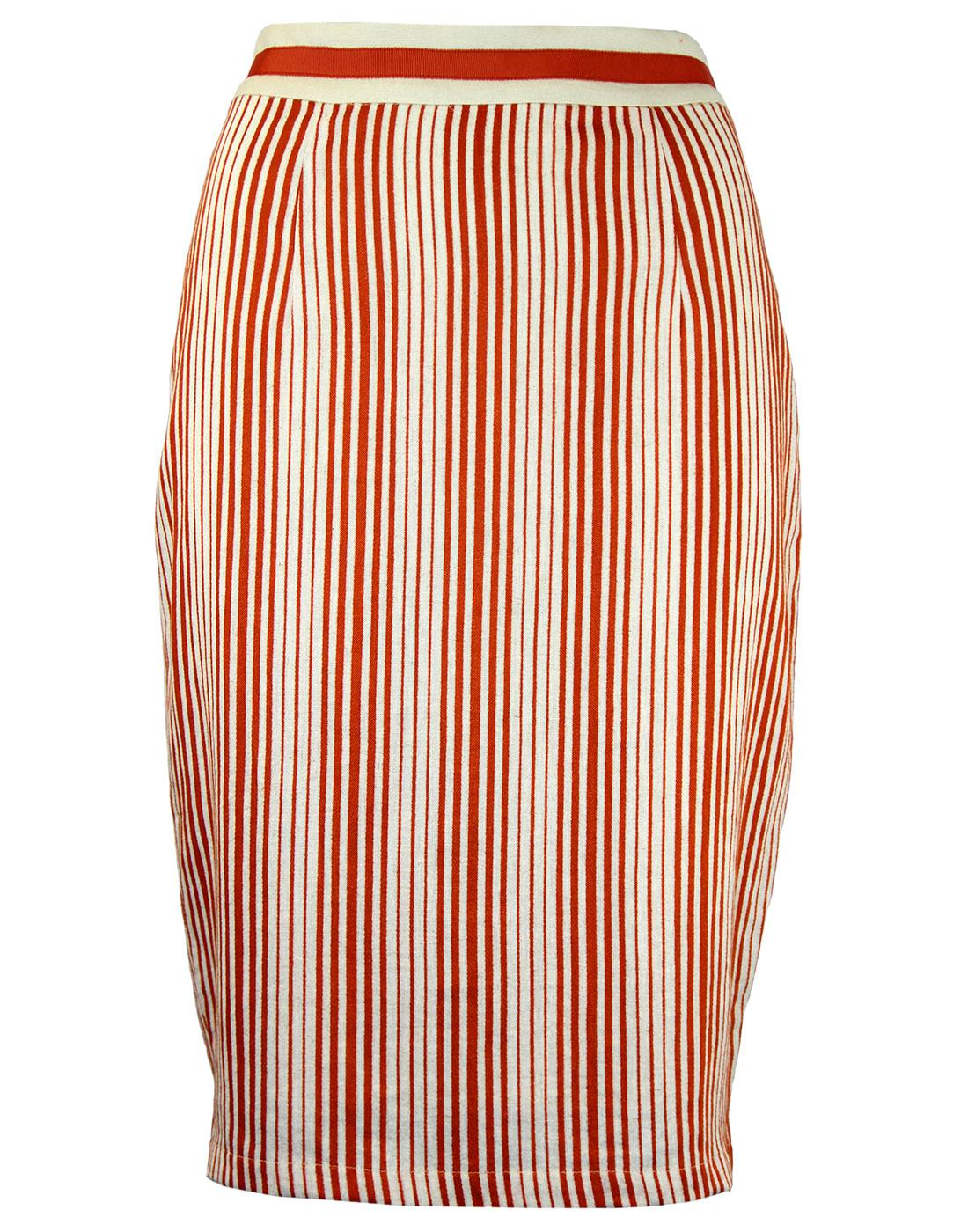 Barbican FEVER Retro 50s Linen Stripe Pencil Skirt