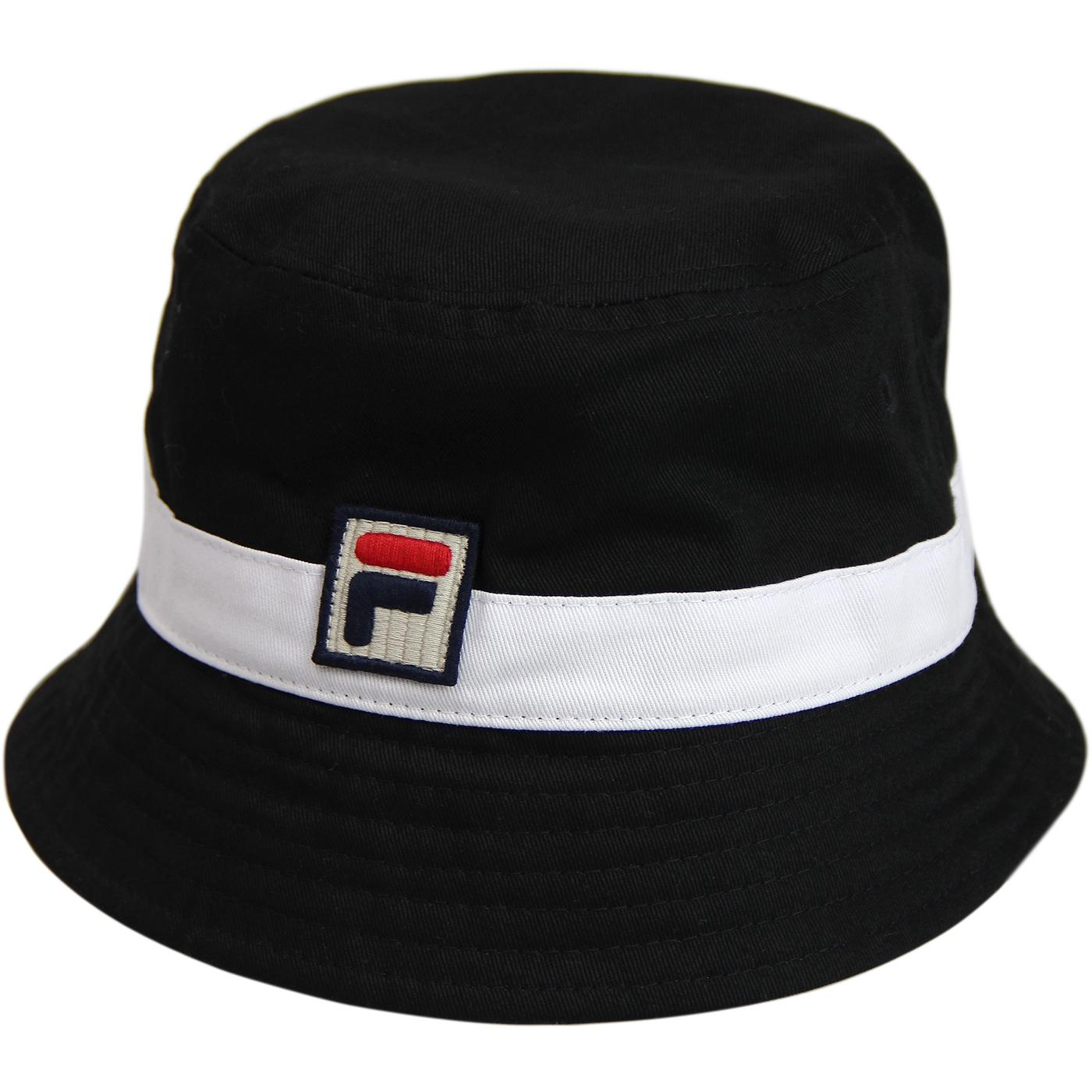 Basil FILA VINTAGE Retro 1990s Bucket Hat (B/W)