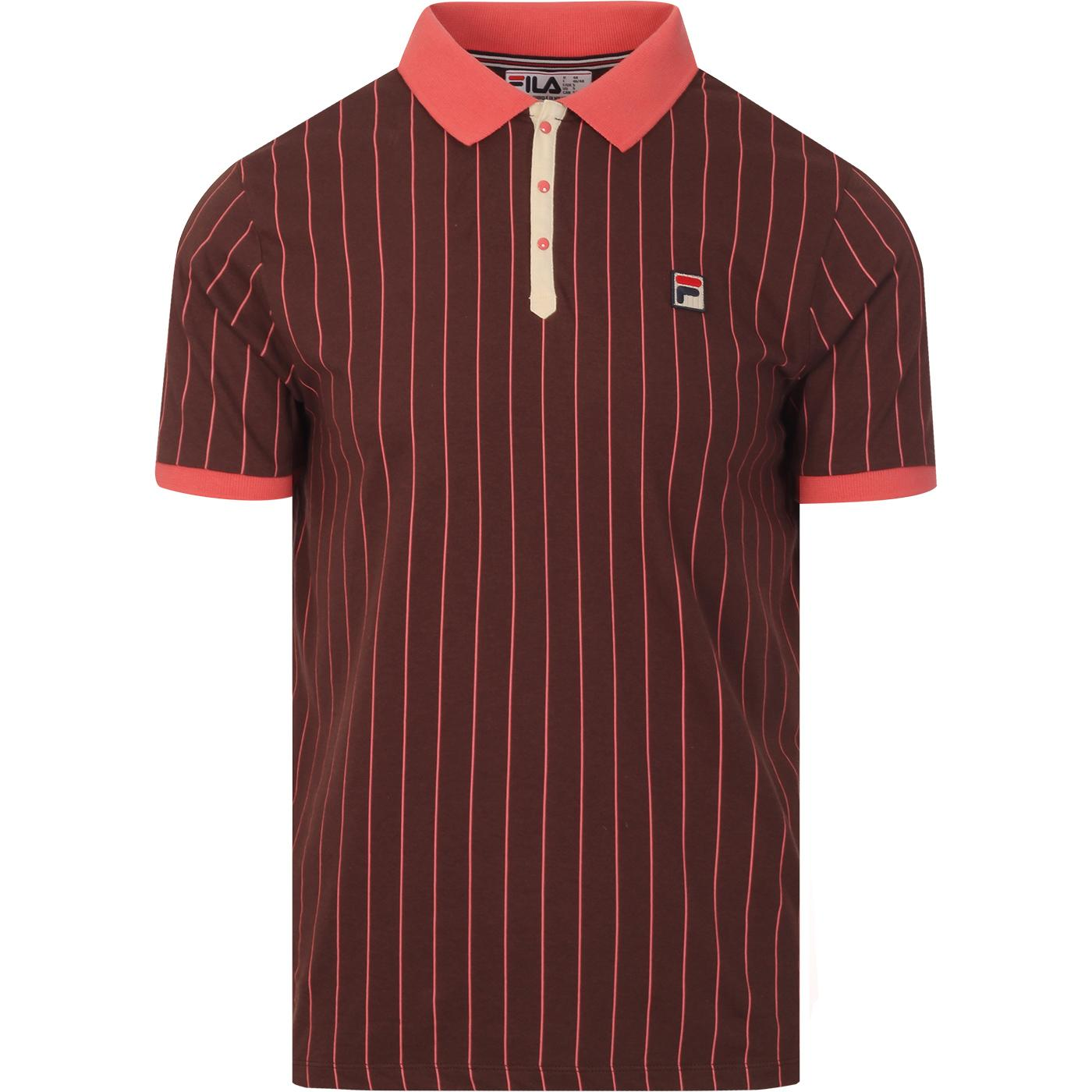 BB1 FILA VINTAGE Retro Stripe Borg Tennis Polo FR