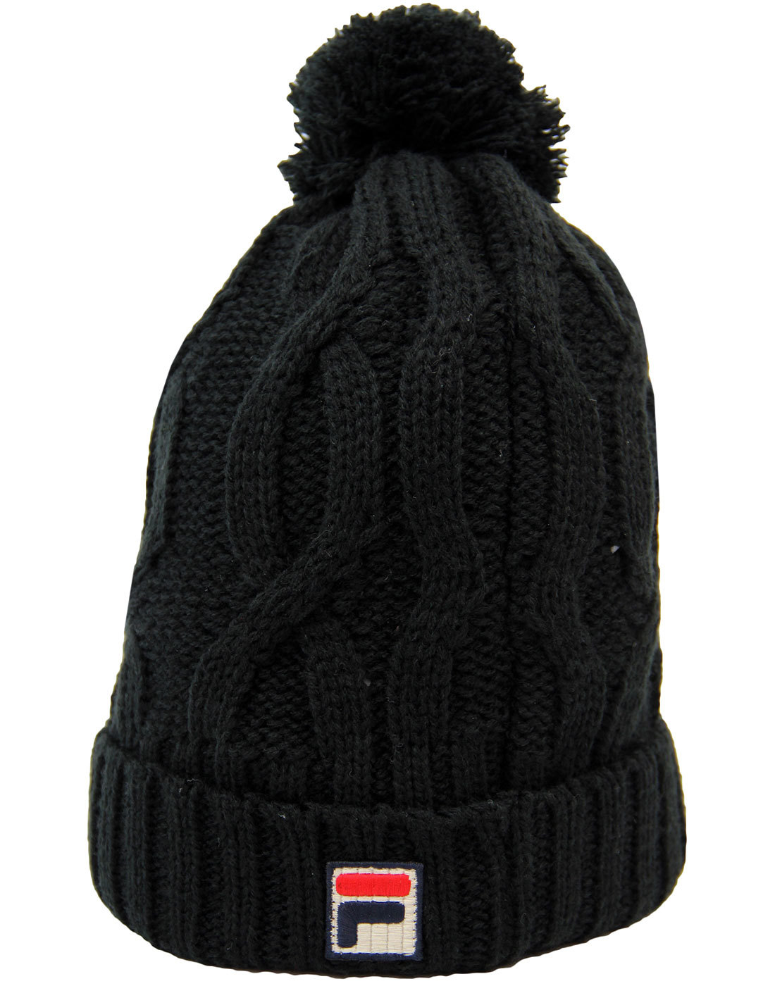 Calapai FILA VINTAGE Retro Cable Knit Bobble Hat