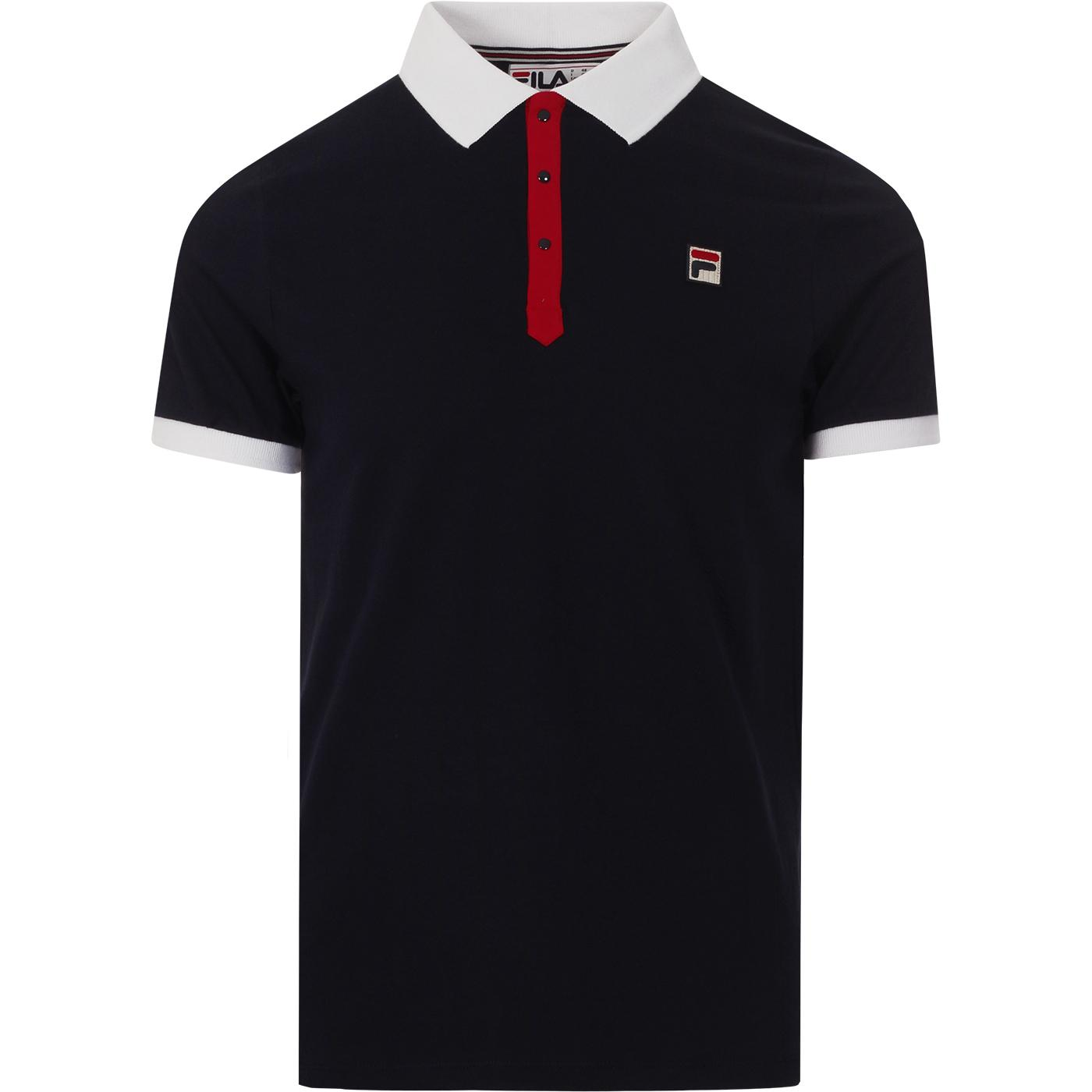 BB1 FILA VINTAGE Retro Borg Tennis Polo Peacoat