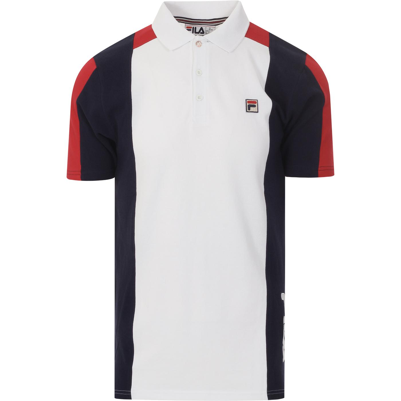 Apache FILA VINTAGE Colour Block Retro Polo WHITE