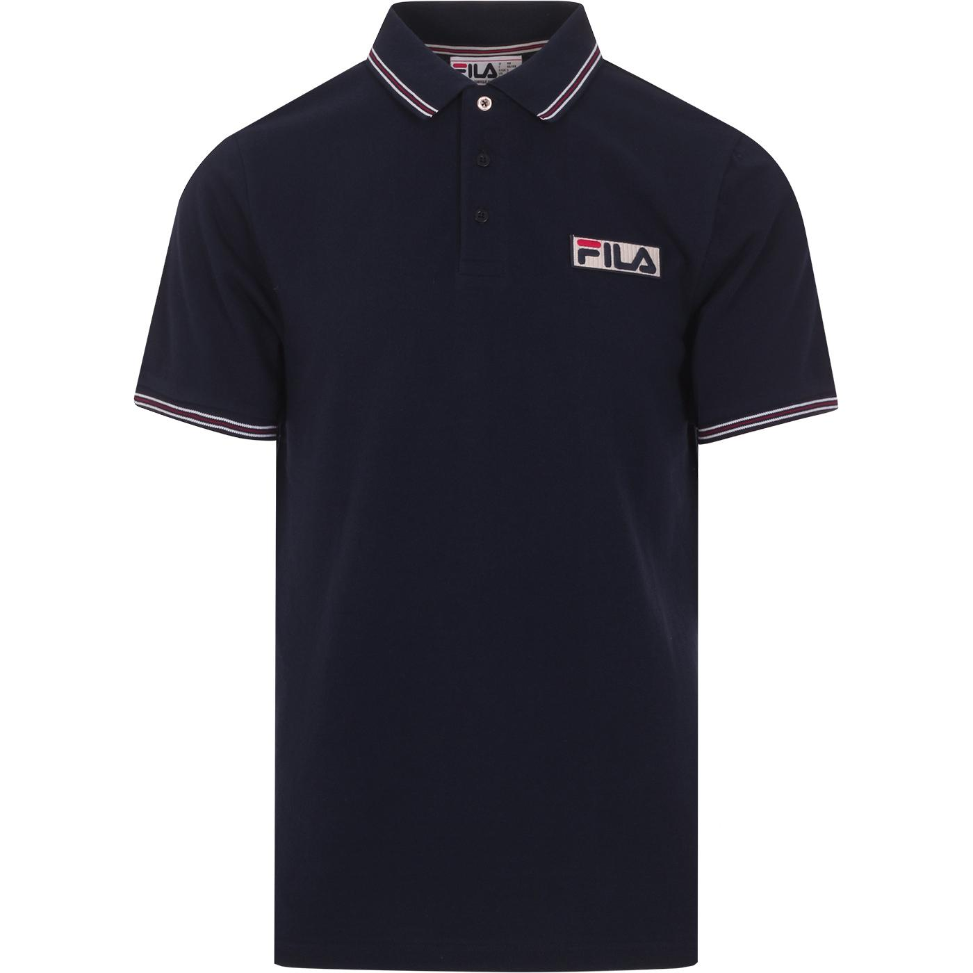 Connell FILA VINTAGE Retro Tipped Mod Polo in Navy
