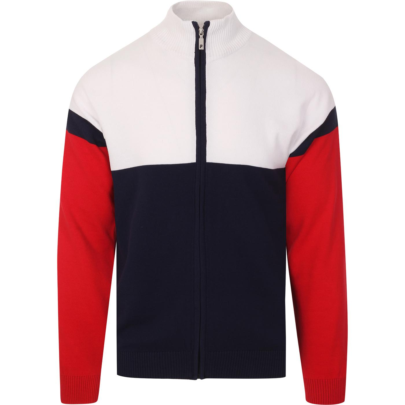 Kerry FILA VINTAGE Knitted Colour Block Cardigan P