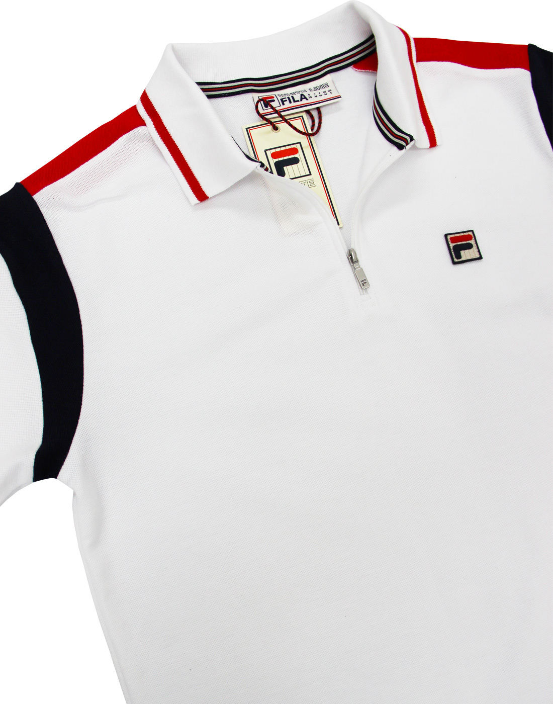 Analytisk inflation kock  FILA VINTAGE Fabbiano Retro 80s Mod Zip Neck Pique Polo in White