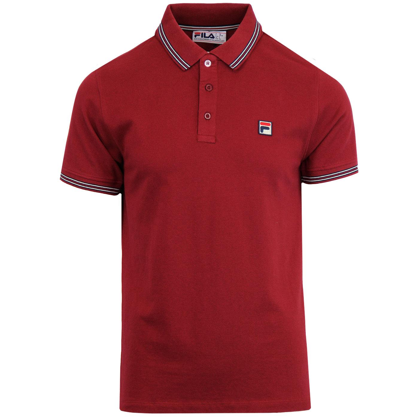 Matcho FILA VINTAGE Retro 70s Tipped Polo Top RED