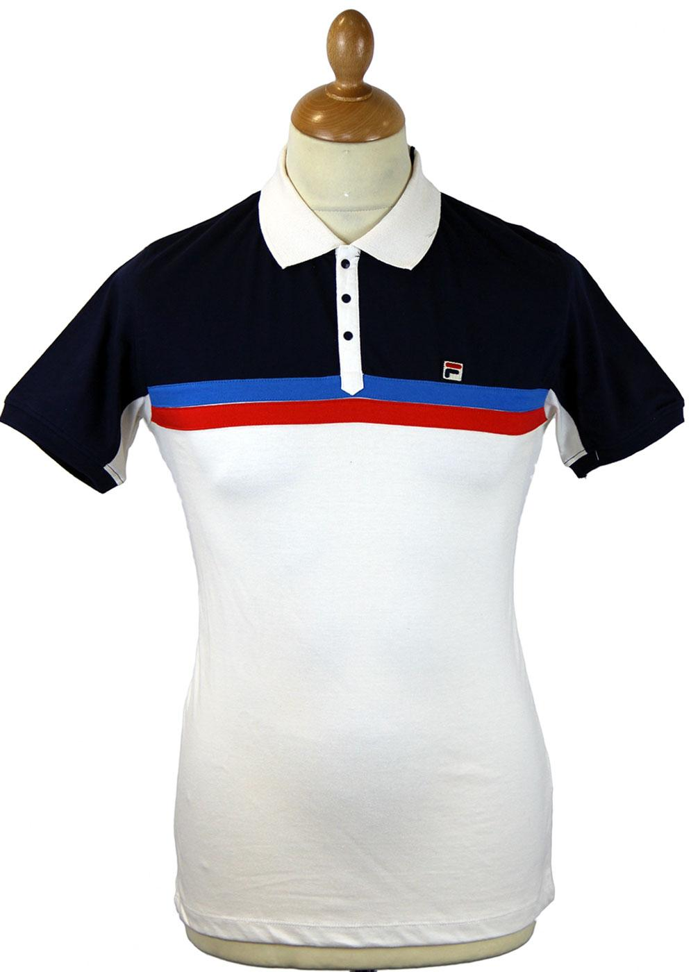 Nemesis FILA VINTAGE Retro Mod Stripe Panel Polo G