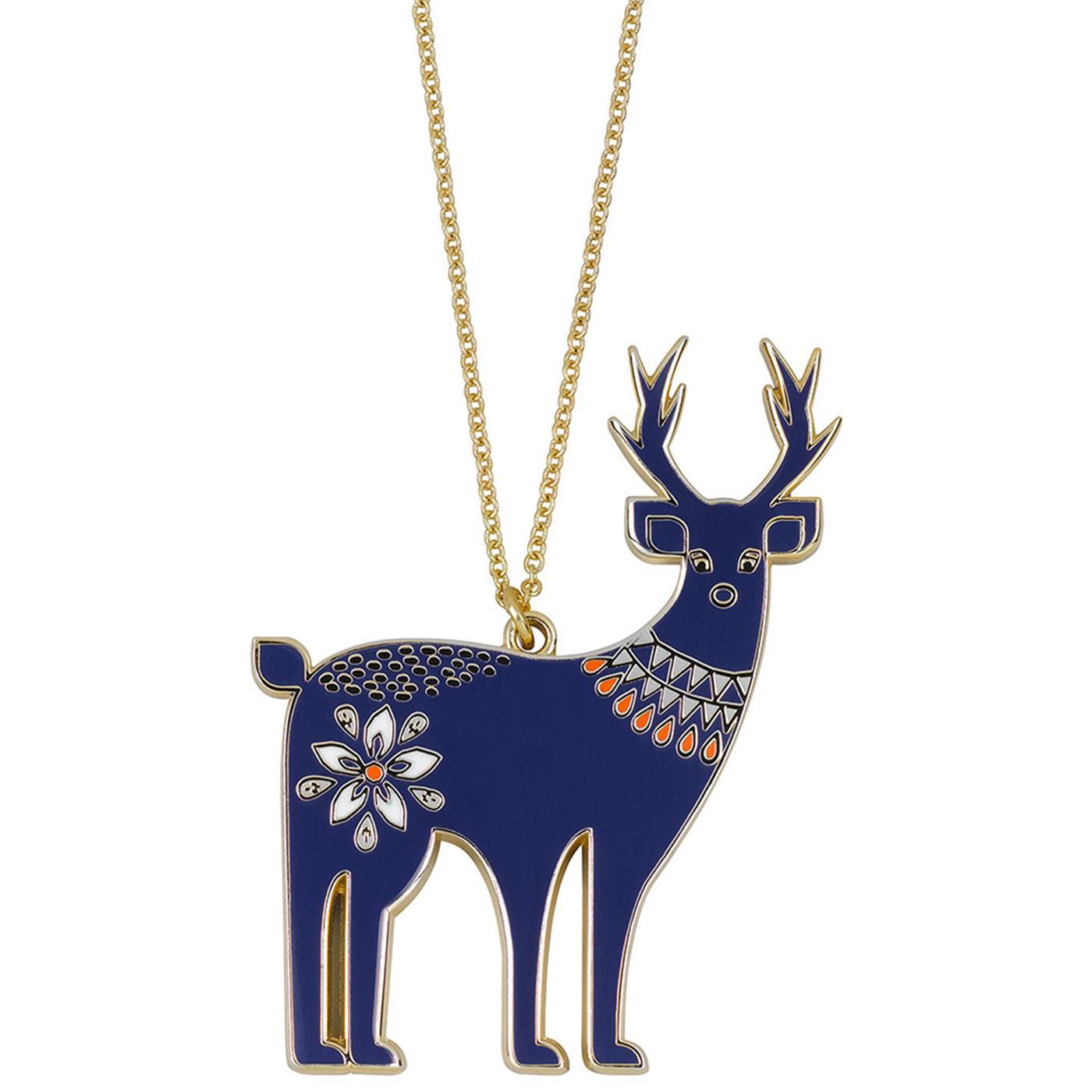FOLKLORE Retro Vintage Enamel Deer Necklace