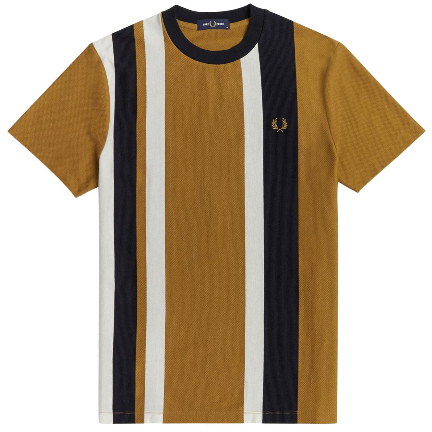 FRED PERRY Mens Retro Multi Textured Stripe Tee DC