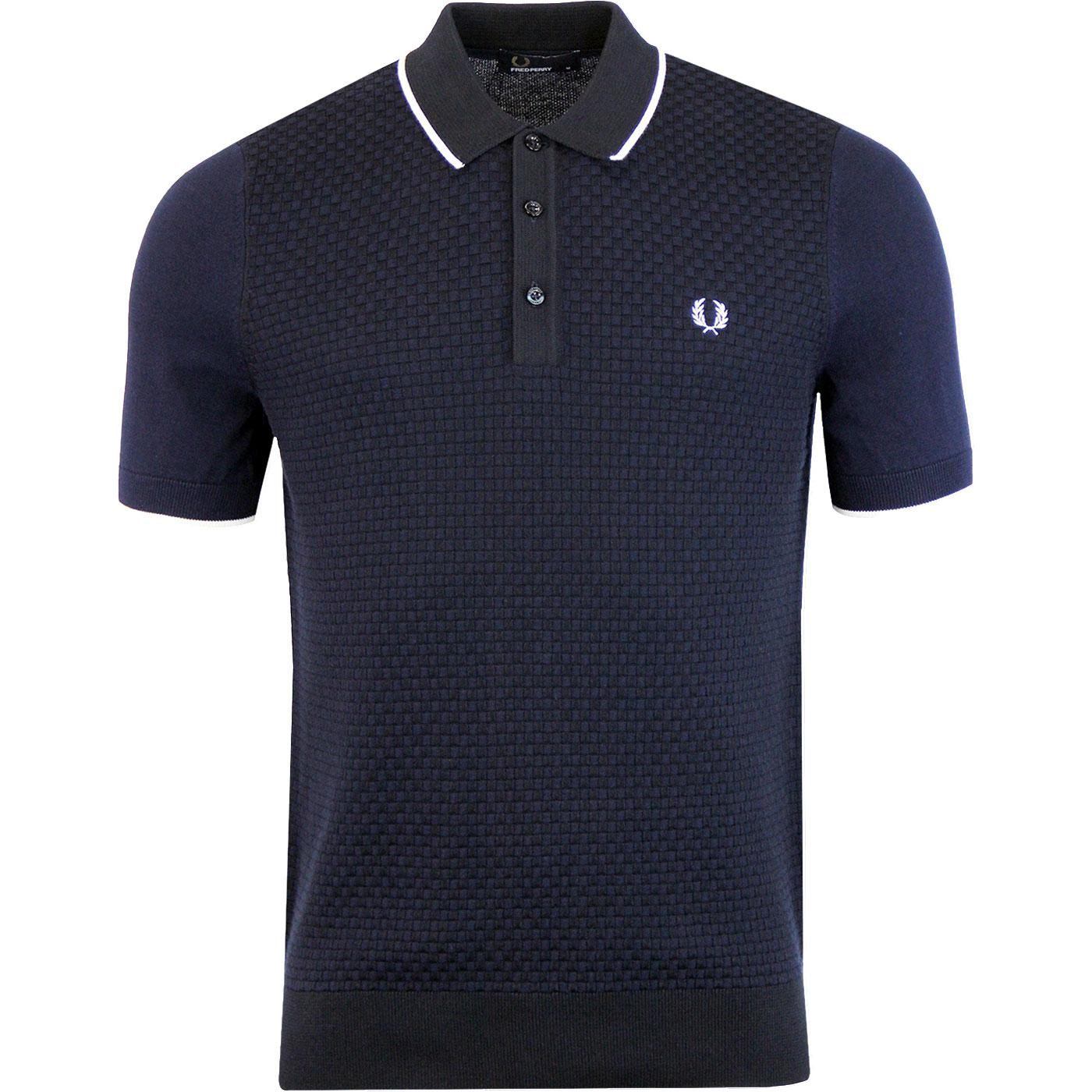 FRED PERRY Retro Textured Knit Two tone Mod Polo