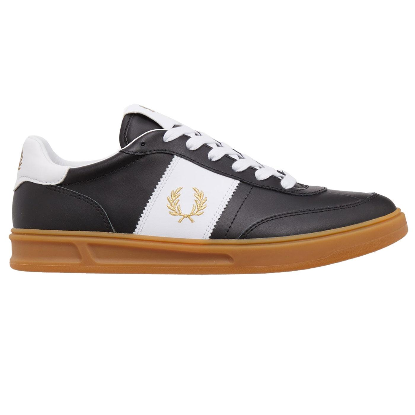 FRED PERRY B400 Leather Mens Retro Trainers BLACK