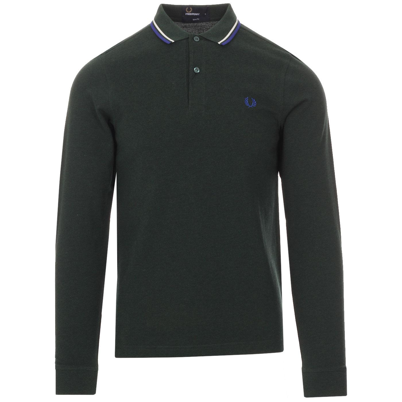 FRED PERRY Men's LS Mod Twin Tipped Pique Polo IVY
