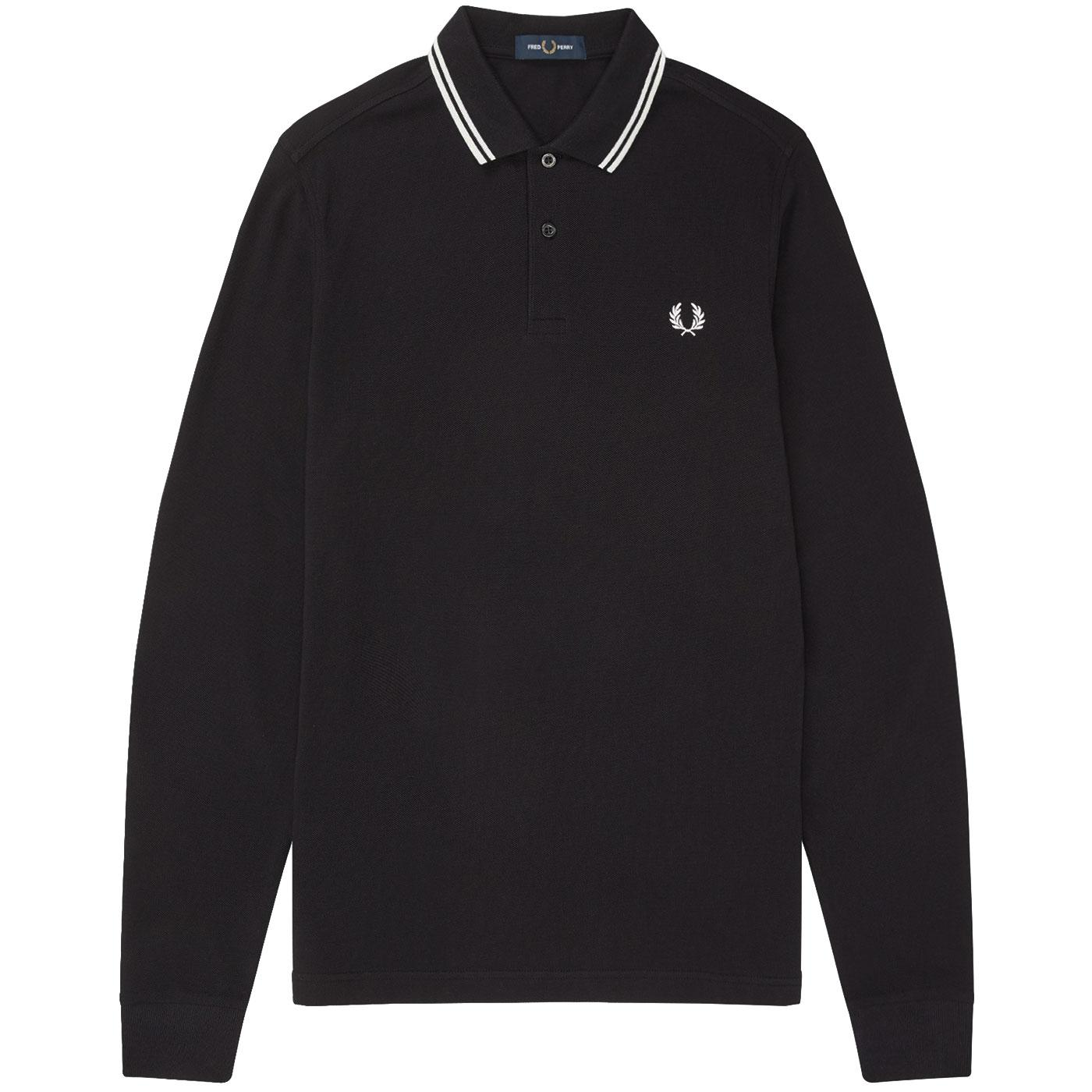FRED PERRY Mod Twin Tipped Long Sleeve Polo BLACK