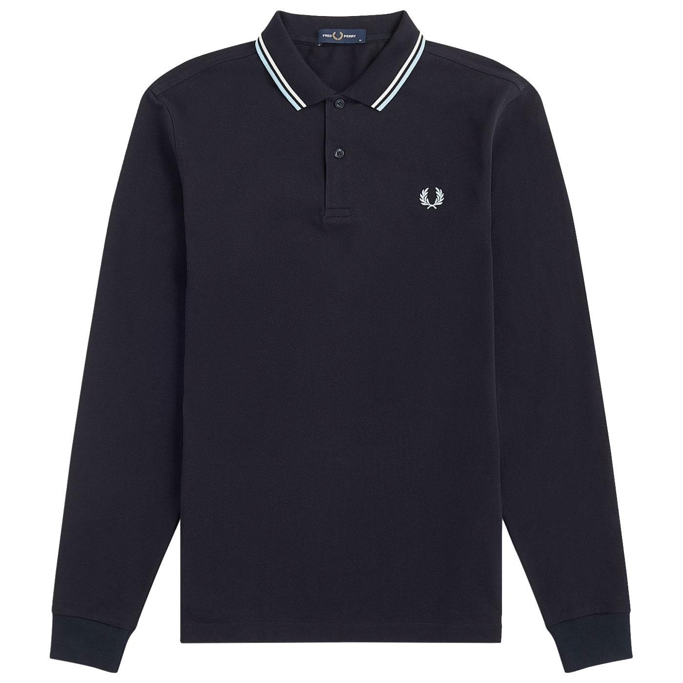 FRED PERRY Mod Long Sleeve Twin Tipped Polo NAVY