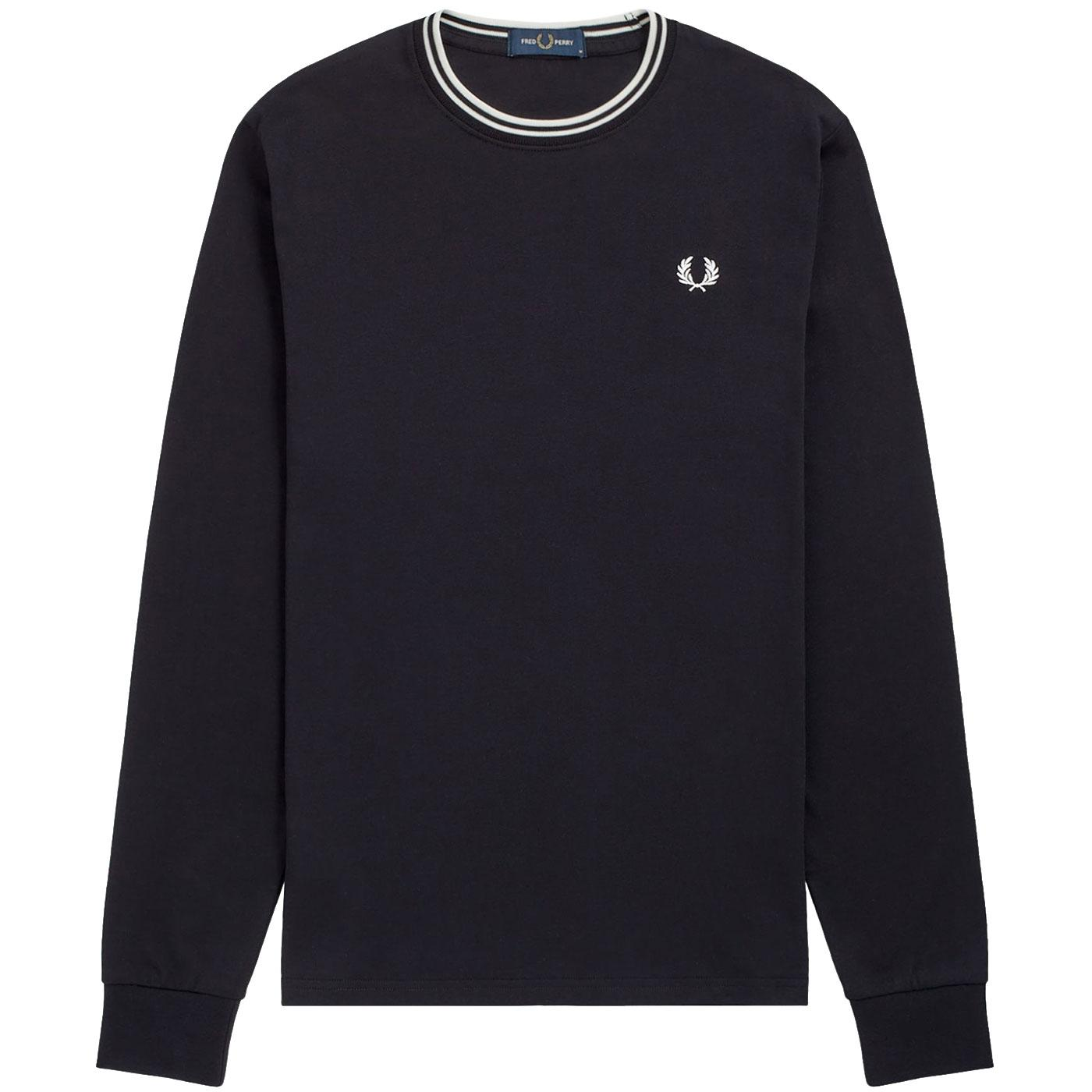 FRED PERRY Men's L/S Twin Tipped T-shirt BLACK