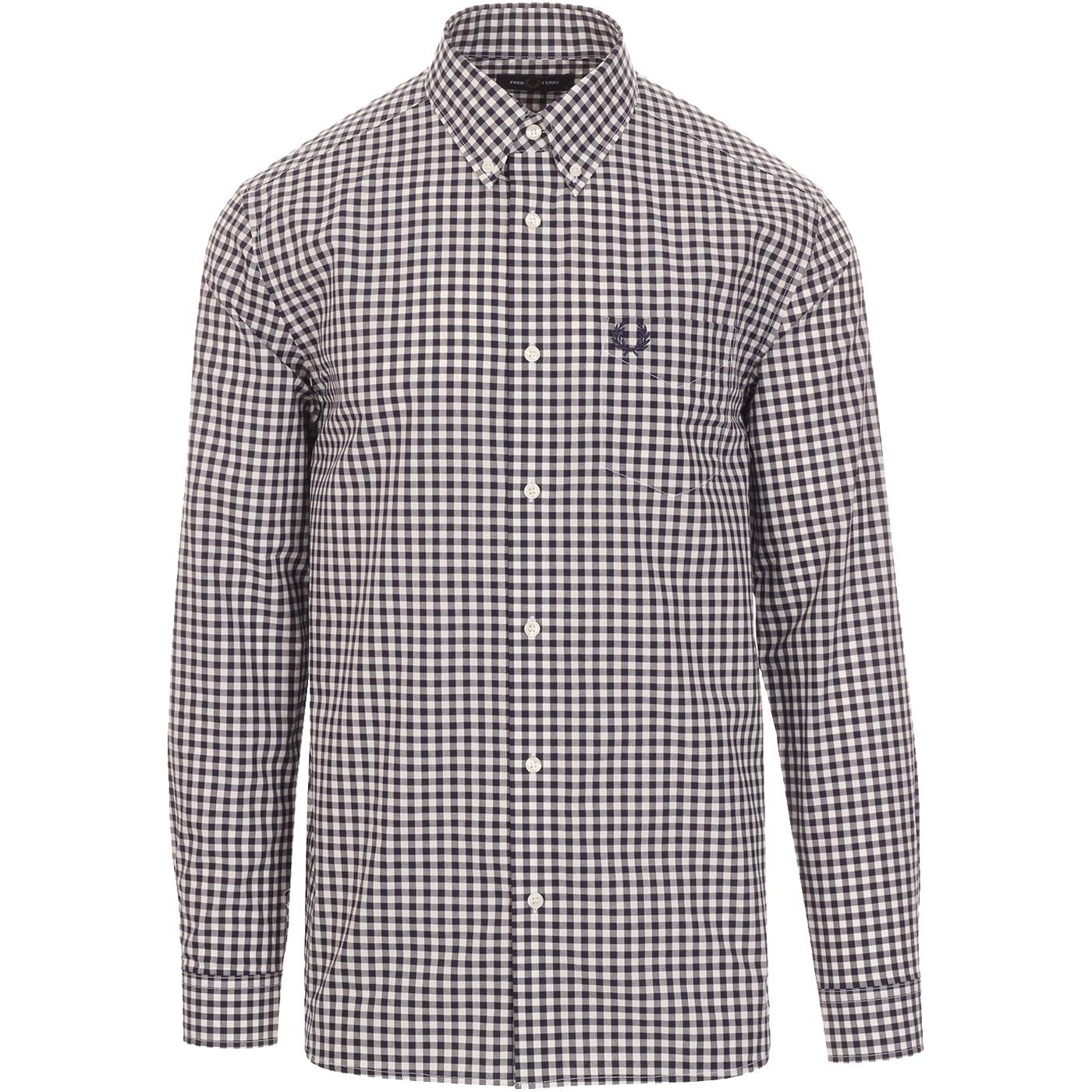 FRED PERRY Mod Long Sleeve Gingham Check Shirt CB