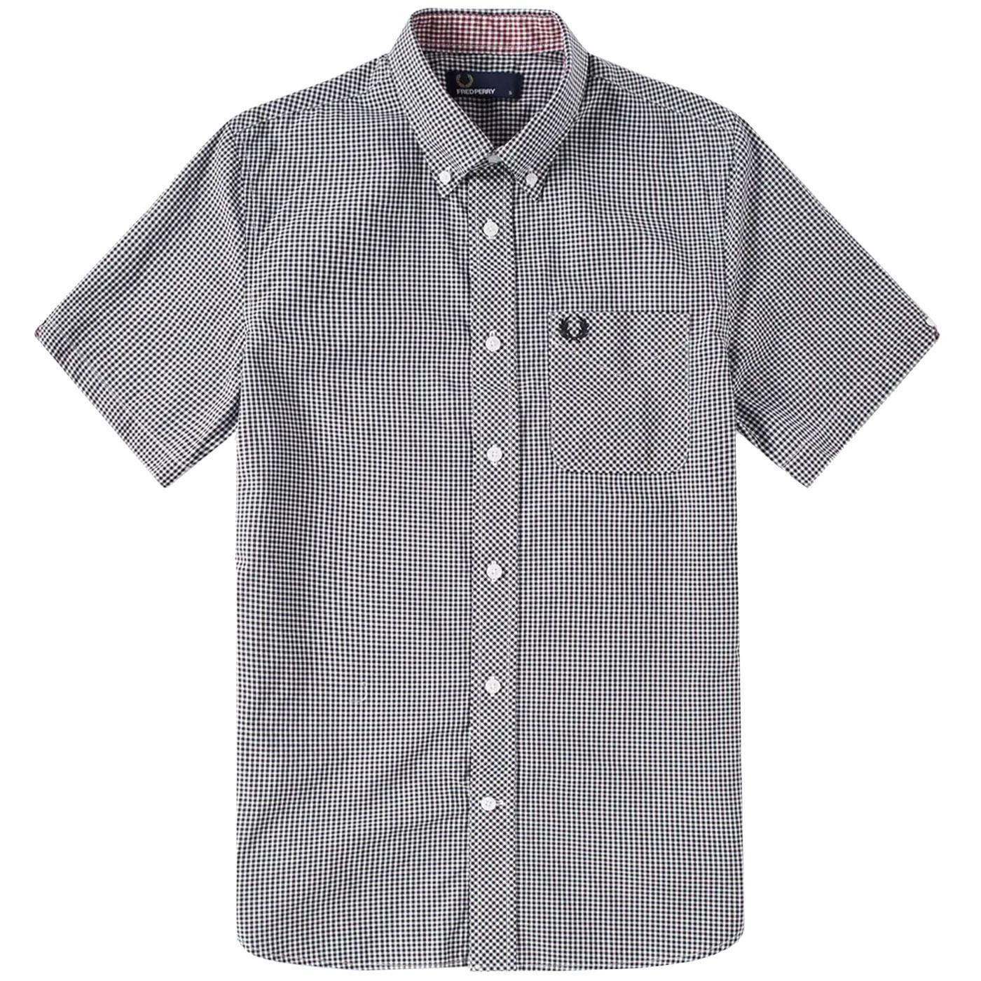 FRED PERRY Mens Retro Mod S/S Gingham Check Shirt