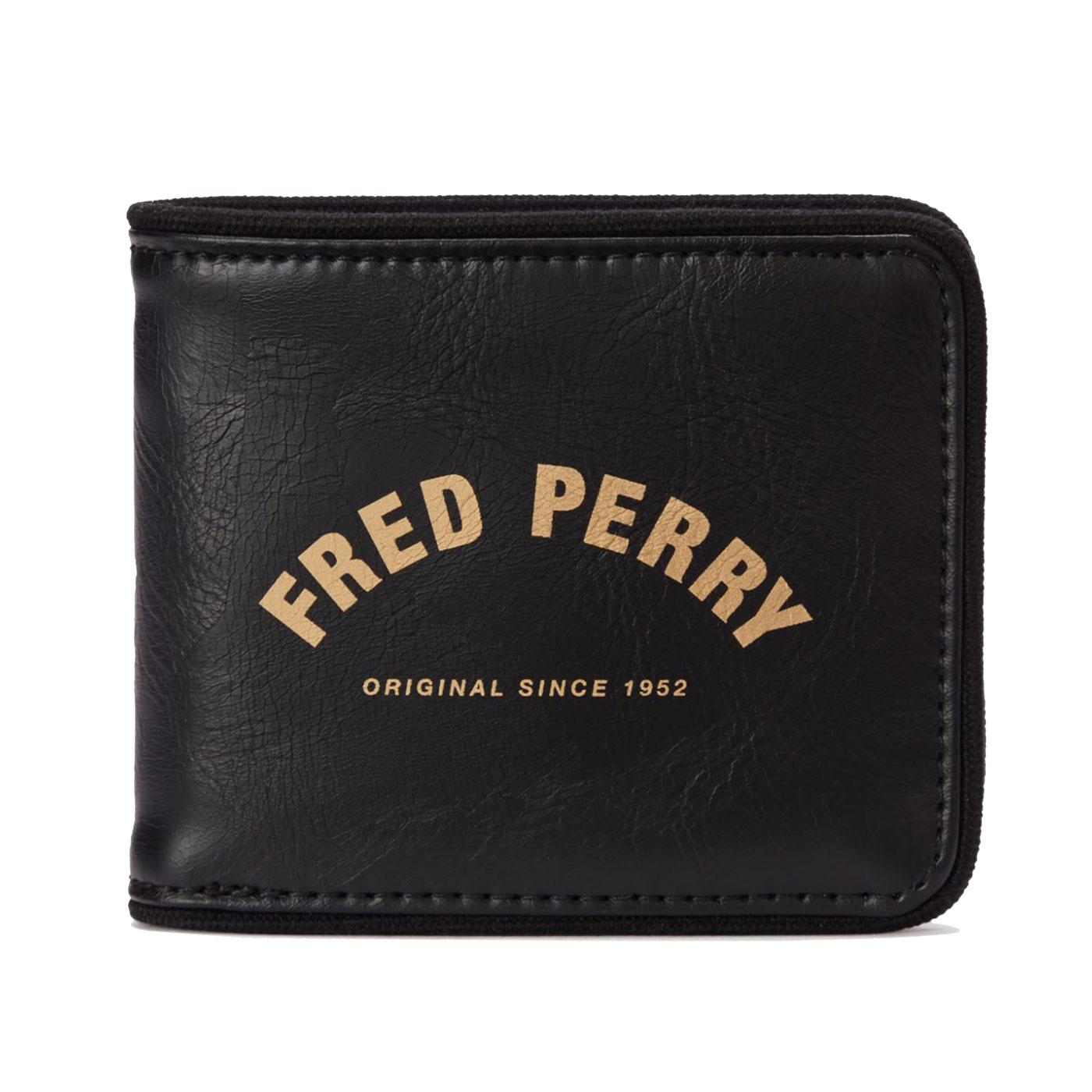 FRED PERRY Arch Logo Branded Billfold Wallet BLACK