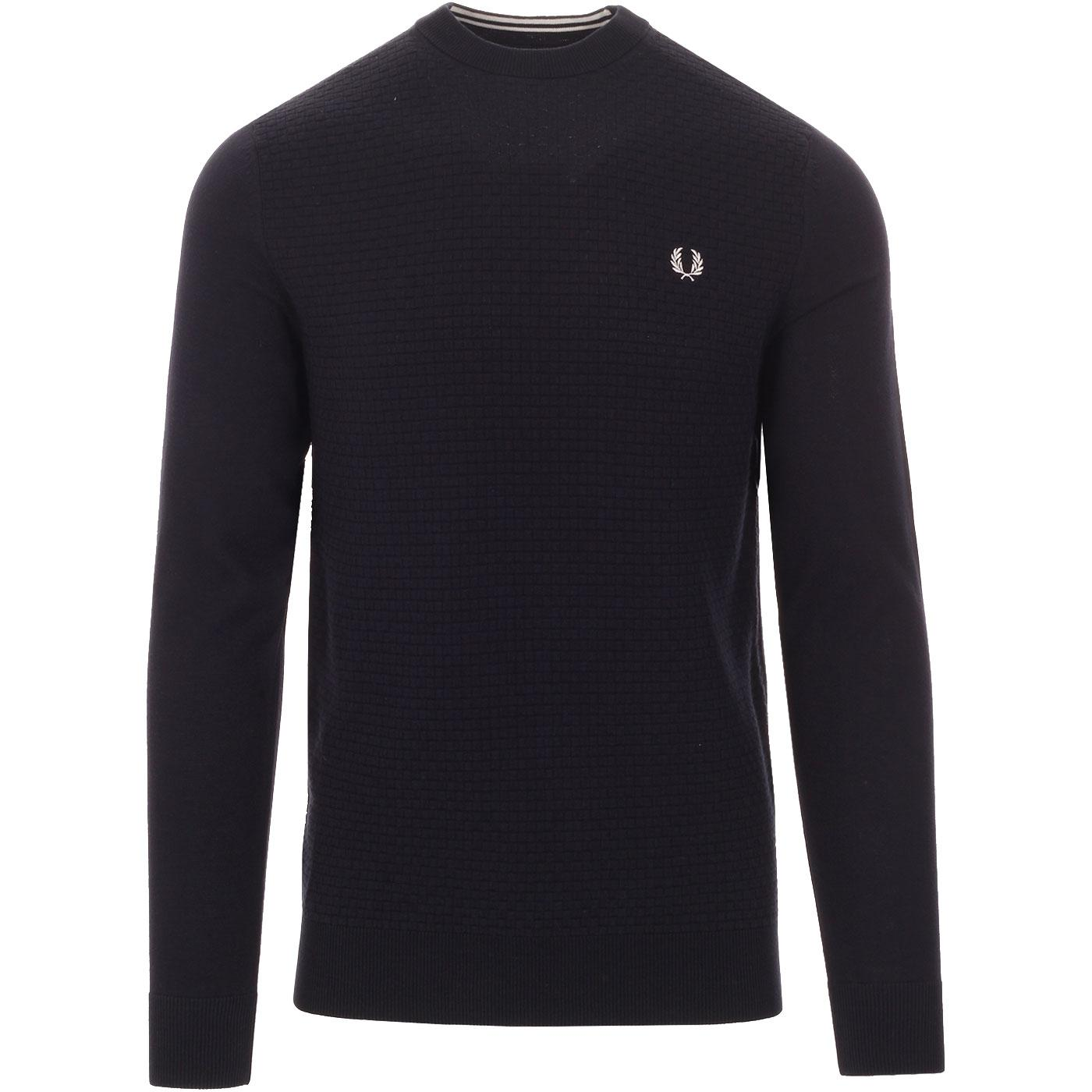 FRED PERRY Retro Basket Weave Textured Jumper