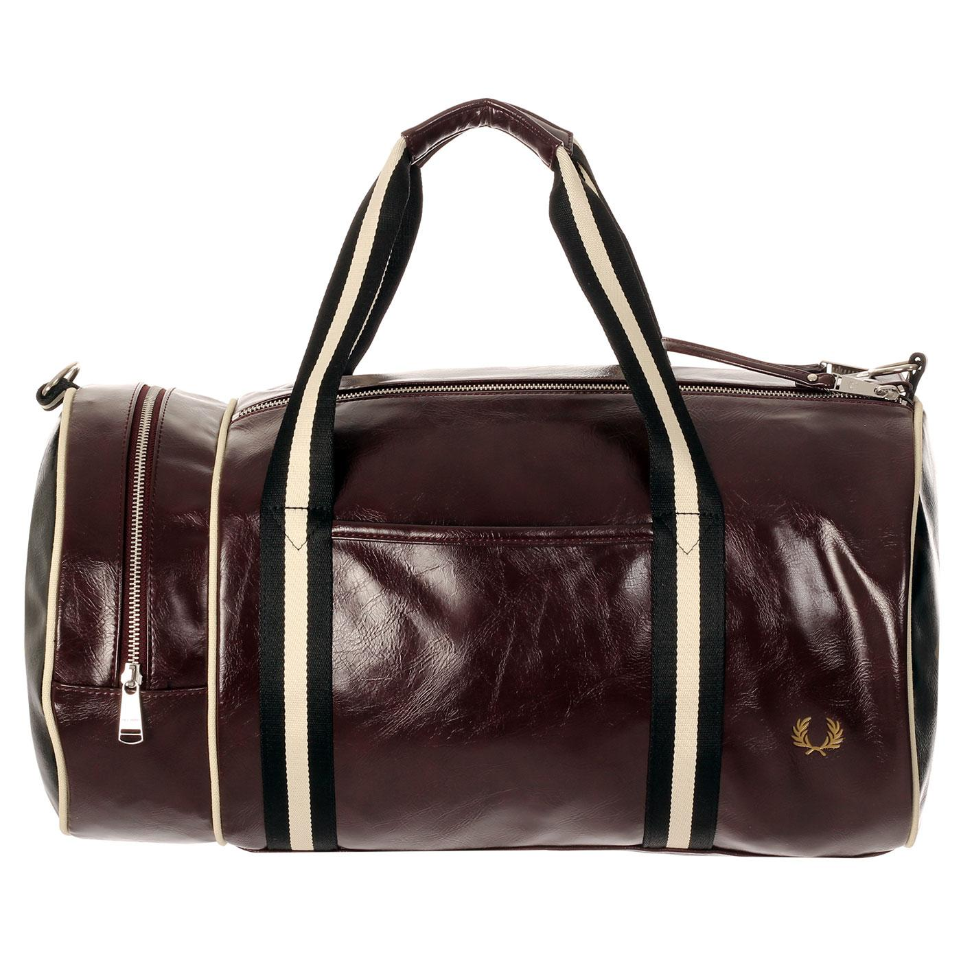 FRED PERRY Contrast Colour Barrel Bag - Port/Black