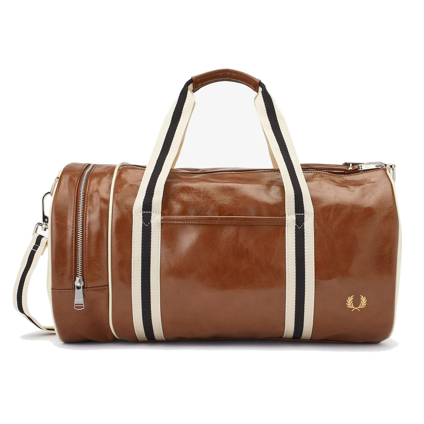 FRED PERRY Retro Mod Classic Barrel Bag - Tan/Ecru
