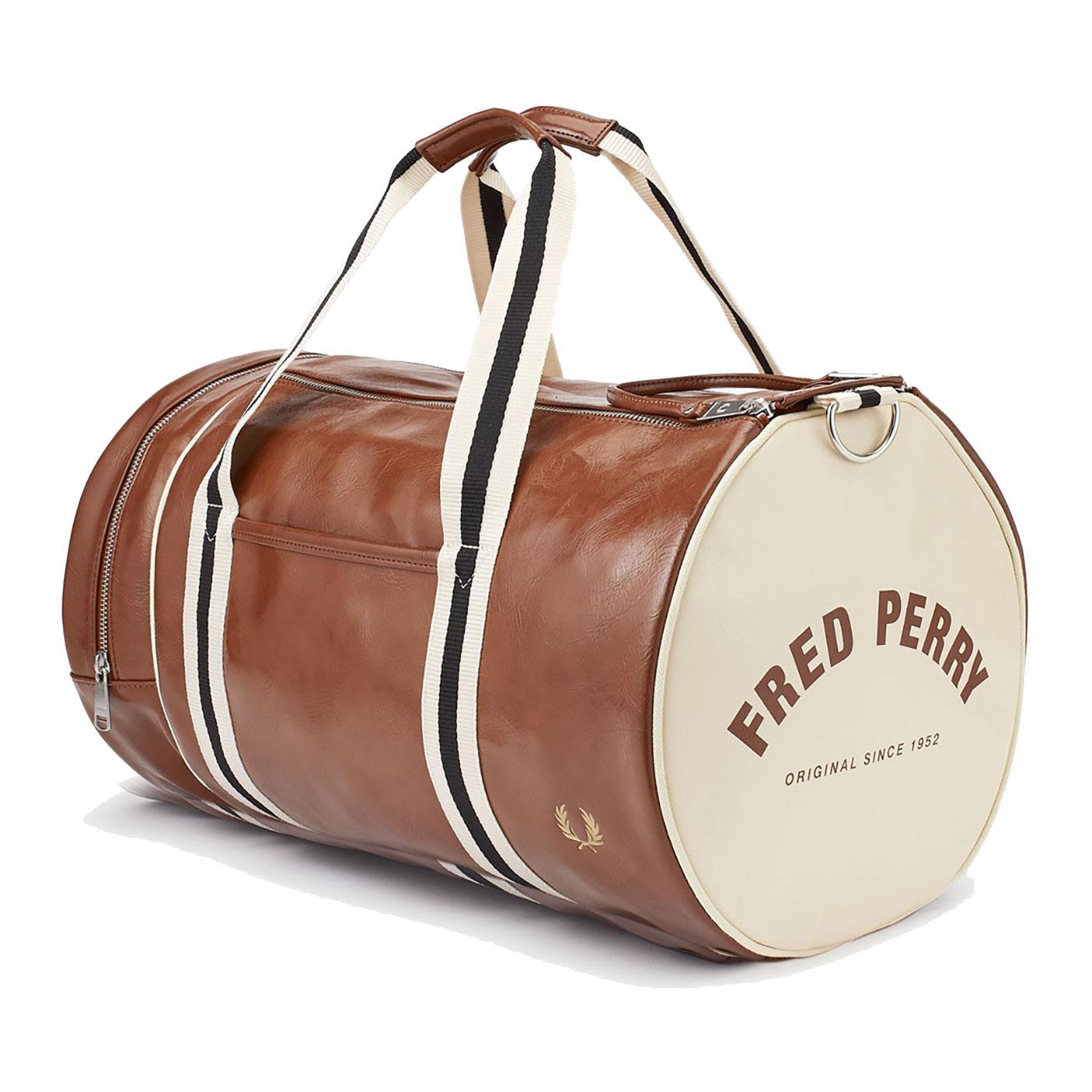 FRED PERRY Retro Mod Classic Barrel Bag - Tan/Ecru