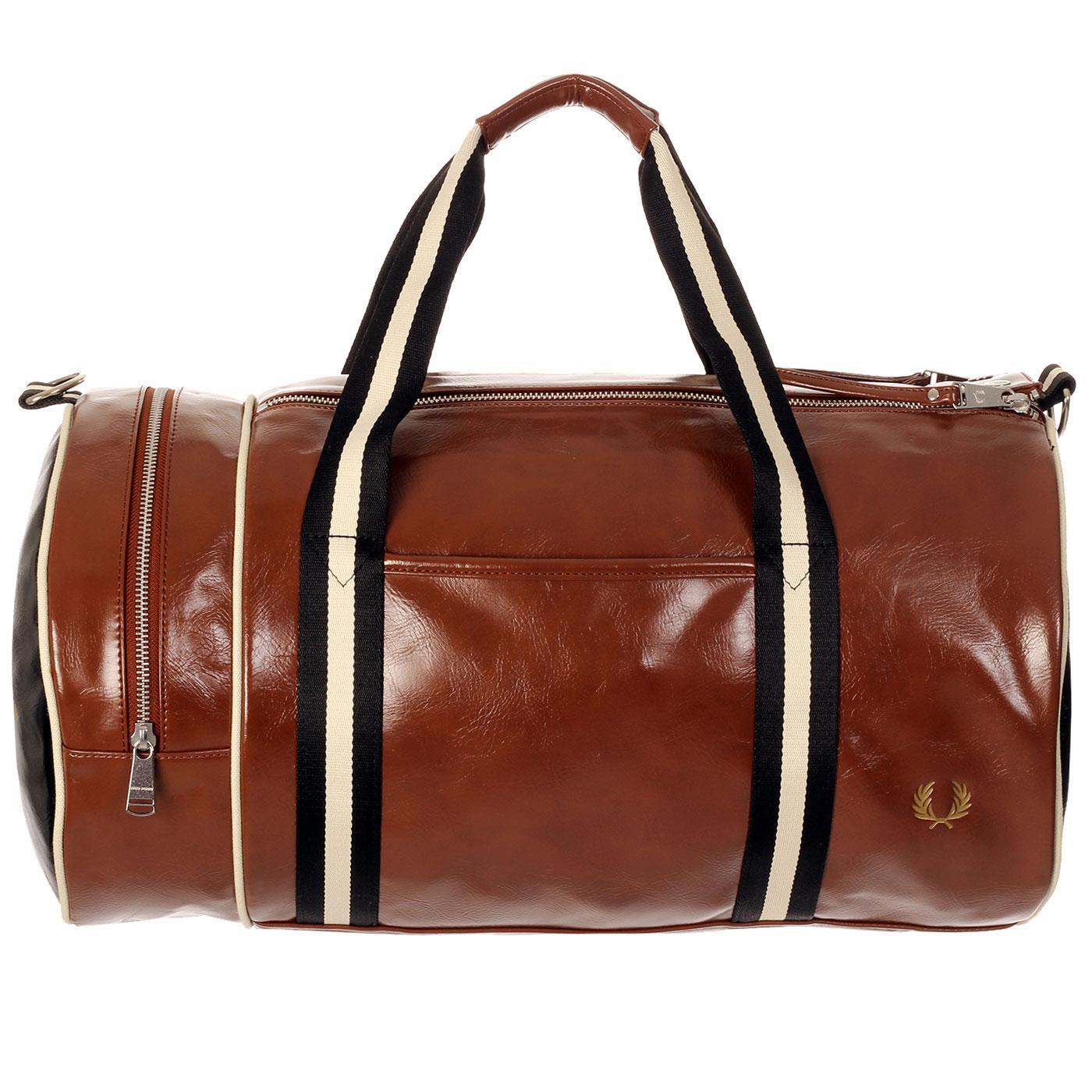 FRED PERRY Contrast Colour Barrel Bag - Tan/Black