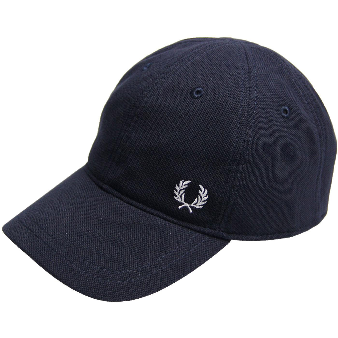 FRED PERRY Men's Retro Pique Baseball Cap (Navy)