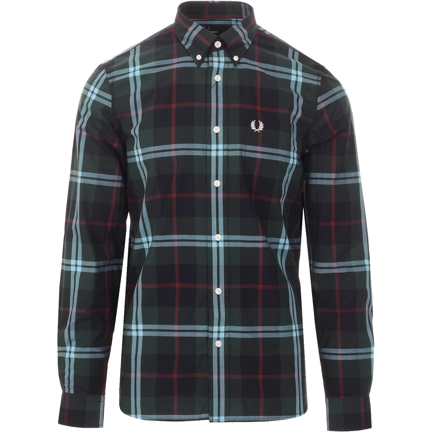 FRED PERRY Mens Retro Bold Check Button Down Shirt