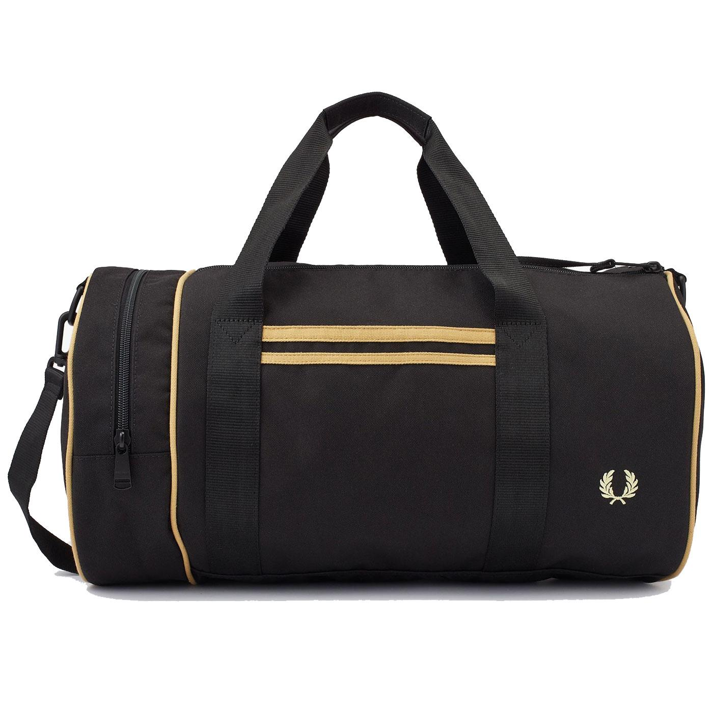 FRED PERRY Retro Twin Tipped Canvas Barrel Bag B/C