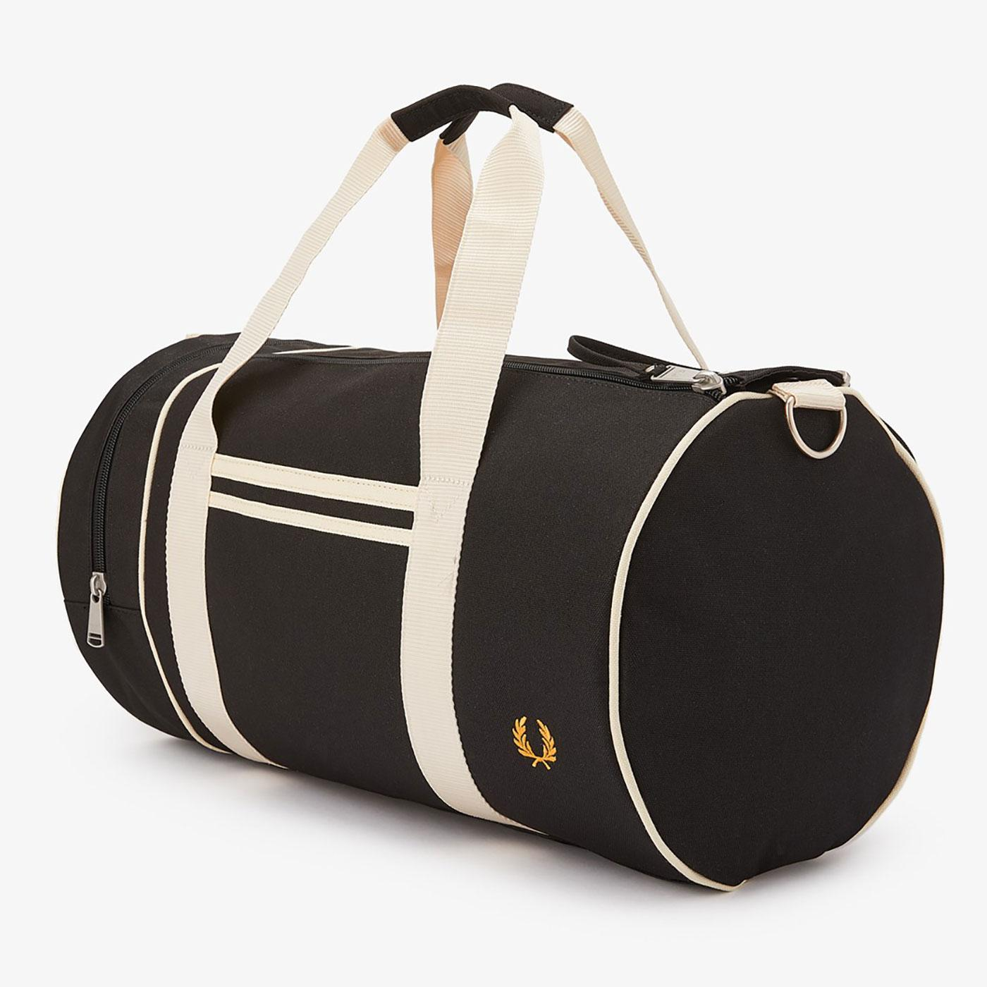 FRED PERRY Retro Twin Tipped Canvas Barrel Bag (B)