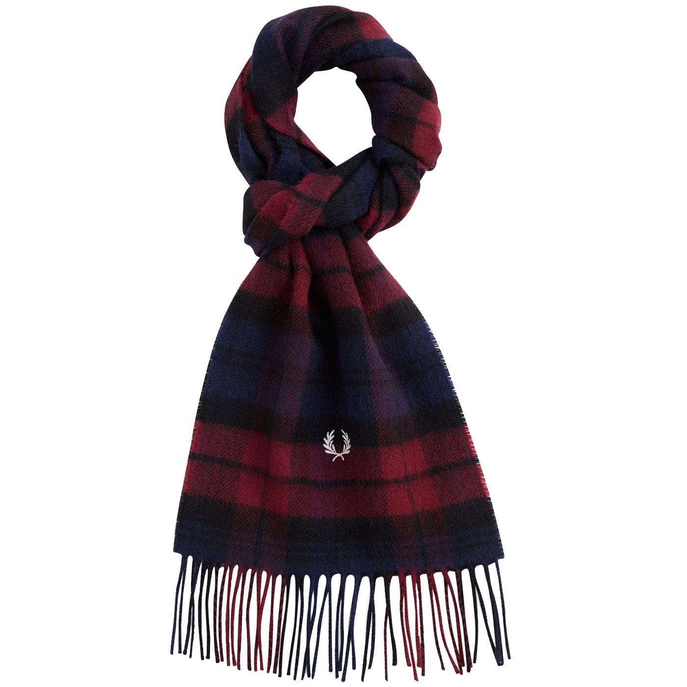 FRED PERRY Retro Tartan Check Lambswool Scarf DC