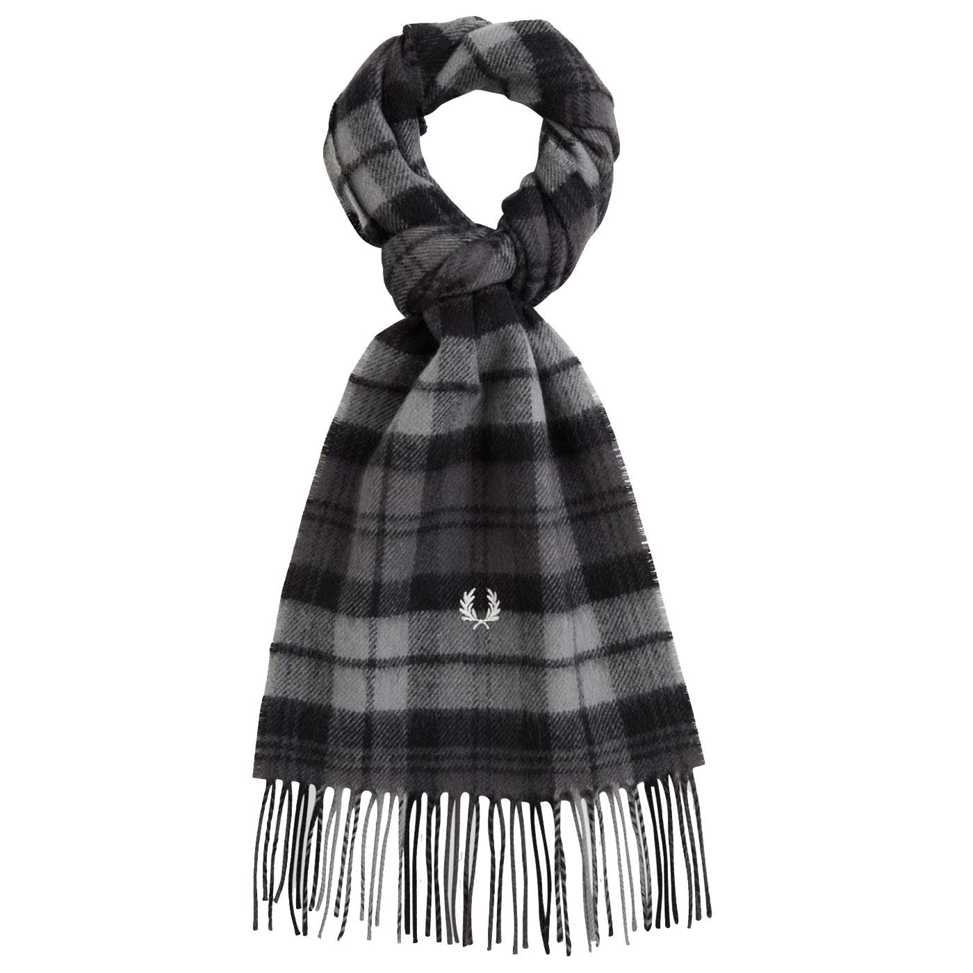 FRED PERRY Retro Tartan Check Lambswool Scarf G/B