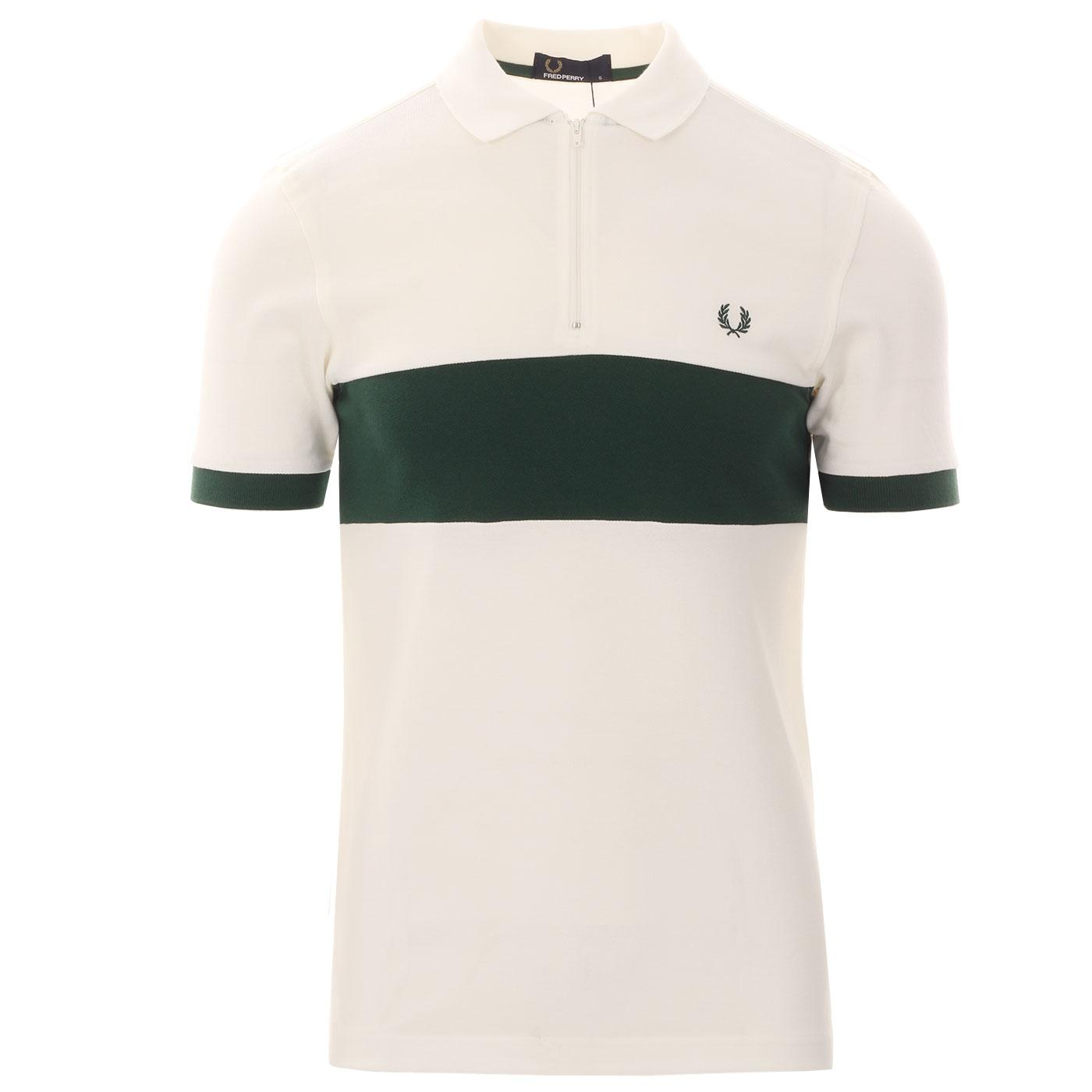 FRED PERRY Chest Panel Zip Neck Pique Polo Shirt