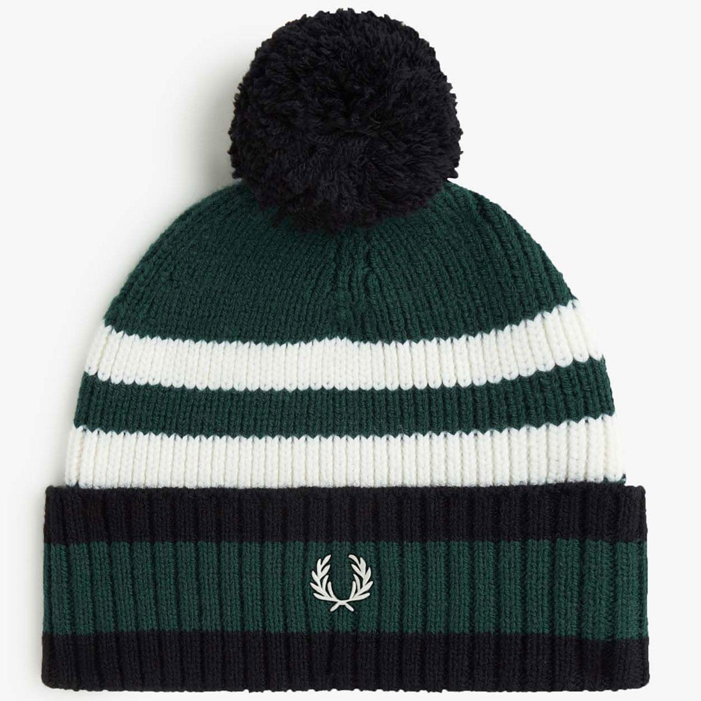 FRED PERRY Retro Chunky Knit Tipped Bobble Hat IVY