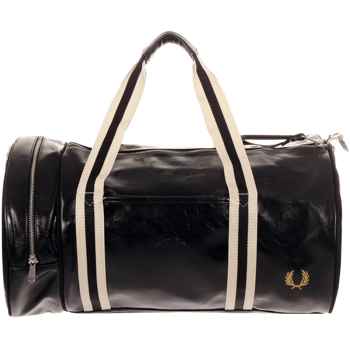 FRED PERRY Classic Retro Barrel Bag - Black/Gold