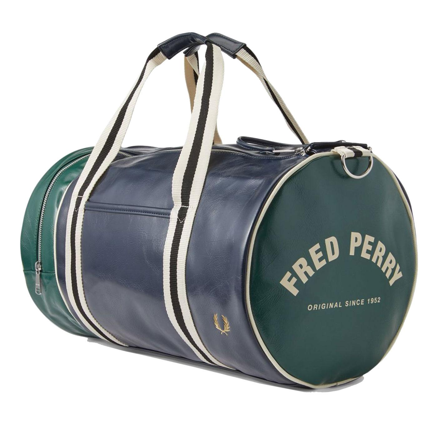 FRED PERRY Retro Colour Block Barrel Bag Navy/Ivy
