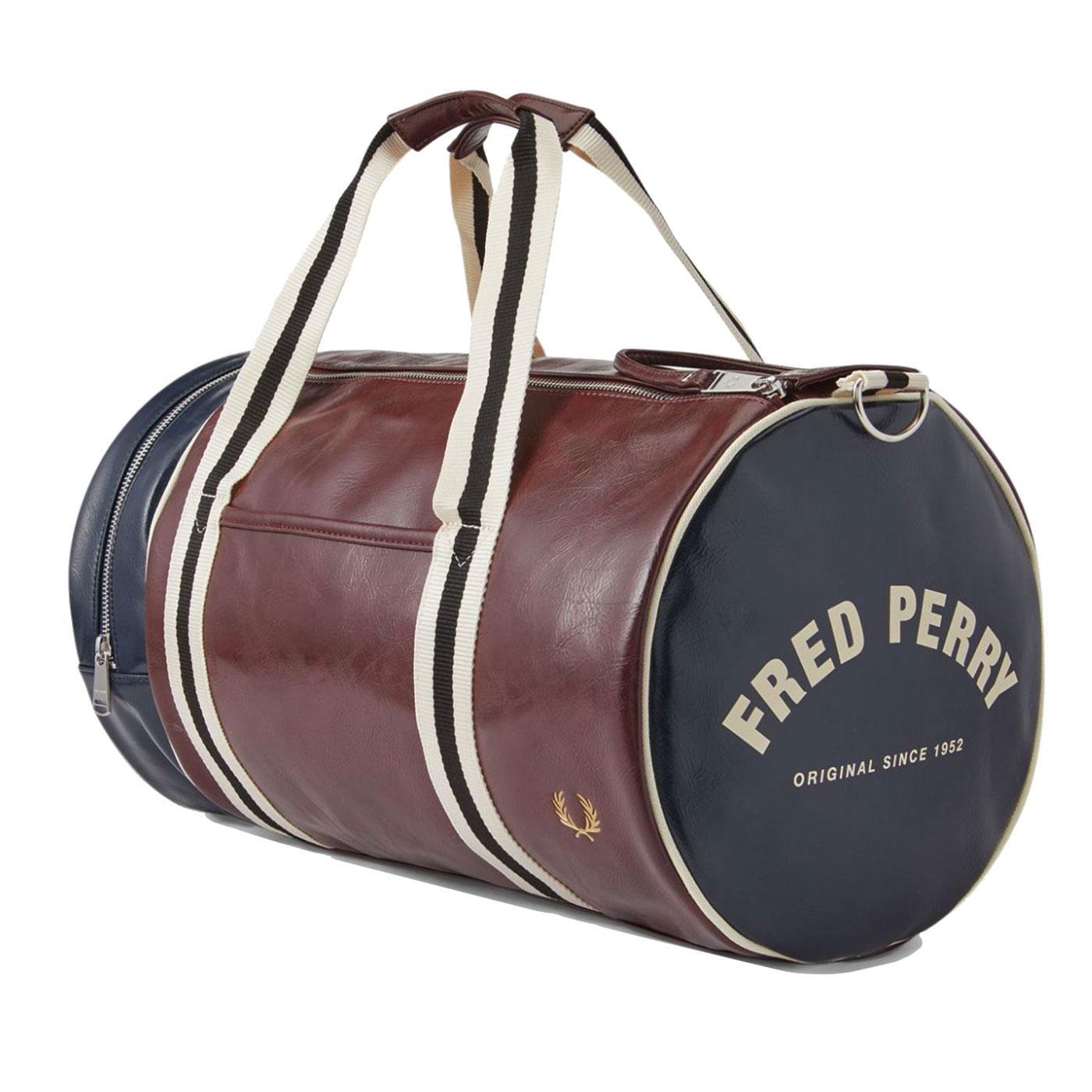 FRED PERRY Retro Colour Block Barrel Bag Port/Navy