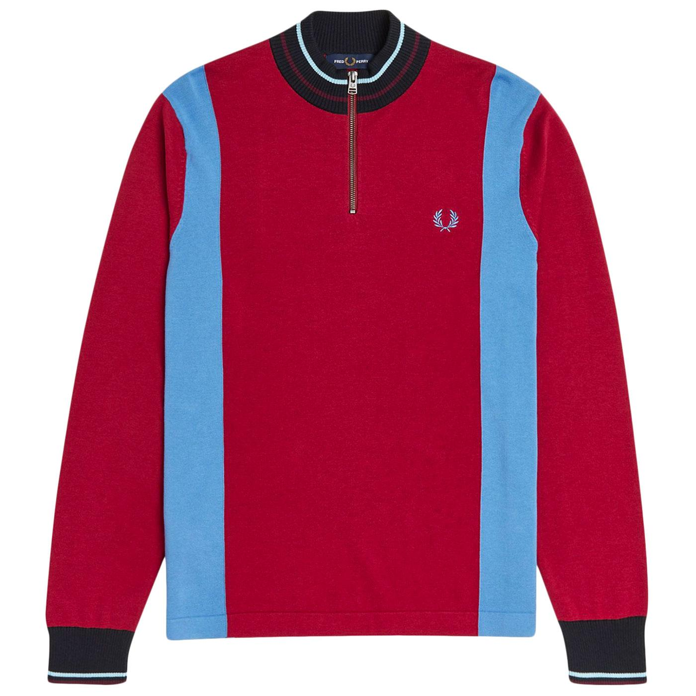 FRED PERRY K1527 Mod Knitted Cycling Top (Claret)