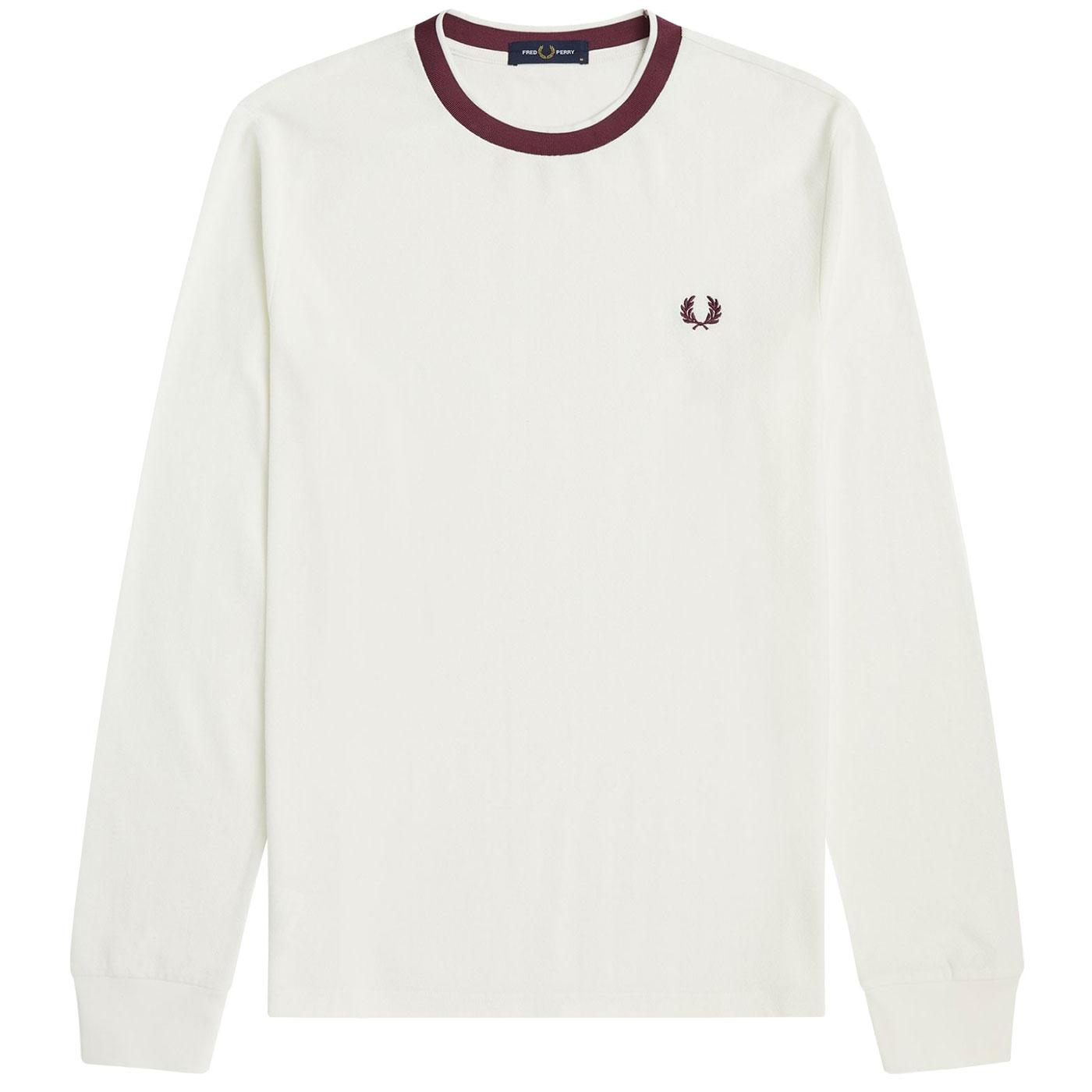 FRED PERRY Long Sleeve Crepe Jersey Ringer Tee