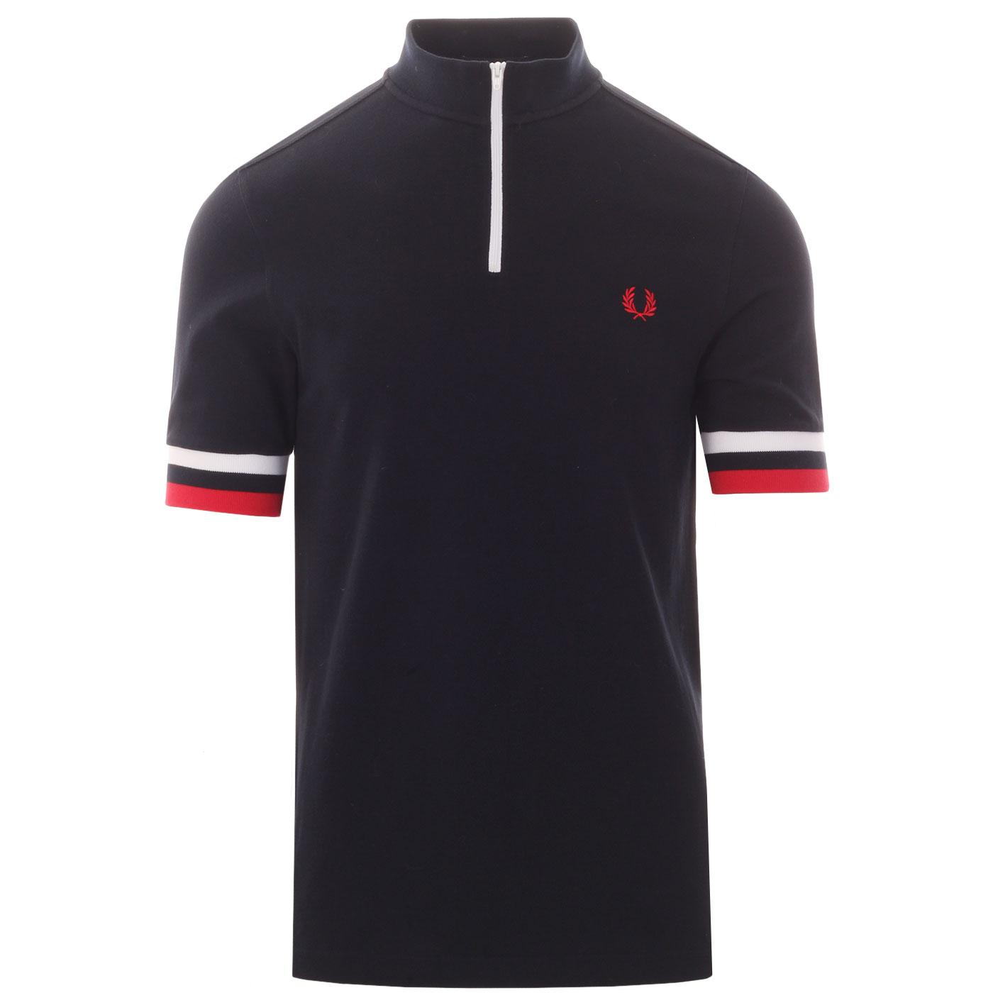 FRED PERRY Men's Retro Mod Pique Cycling Top NAVY