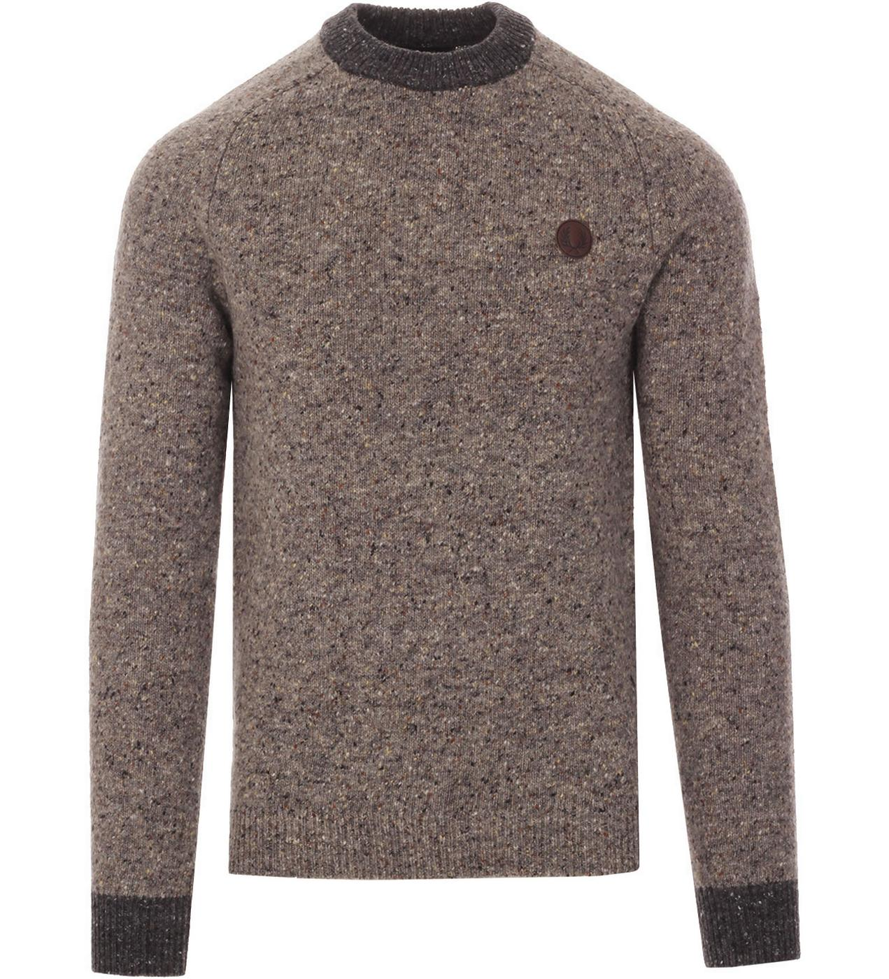 FRED PERRY Retro Irish Donegal Knitted Wool Jumper