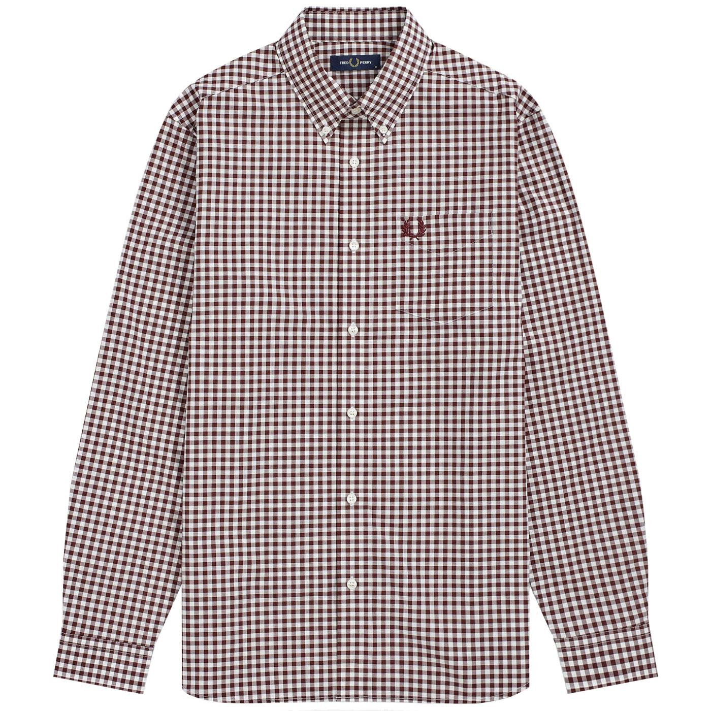 FRED PERRY Mod Long Sleeve Gingham Check Shirt M