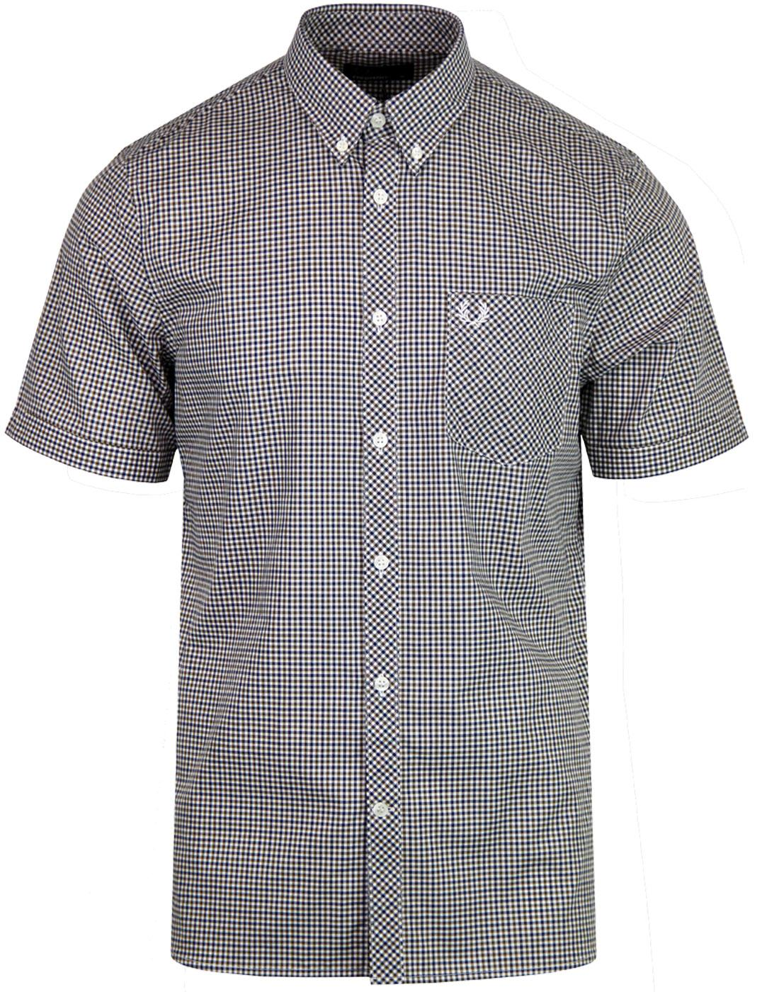 FRED PERRY Retro S/S 3 Colour Gingham Check Shirt