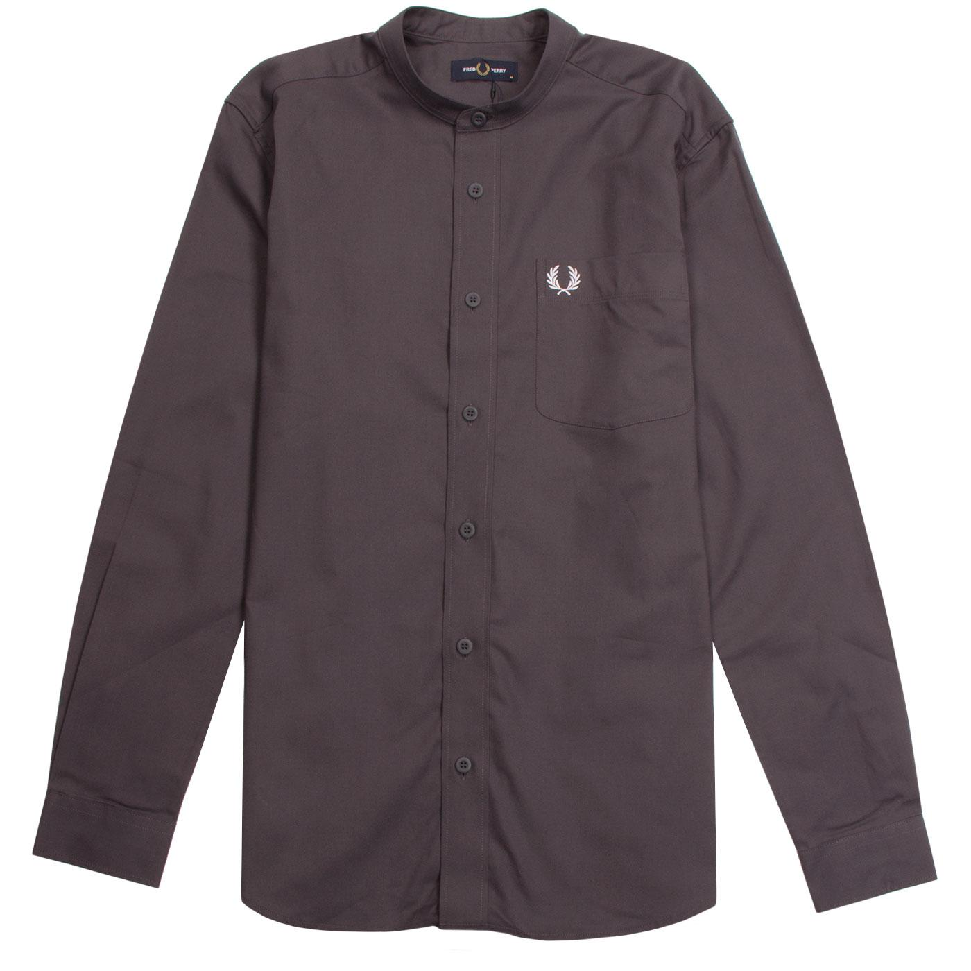 FRED PERRY Retro 60s Grandad Collar Oxford Shirt C