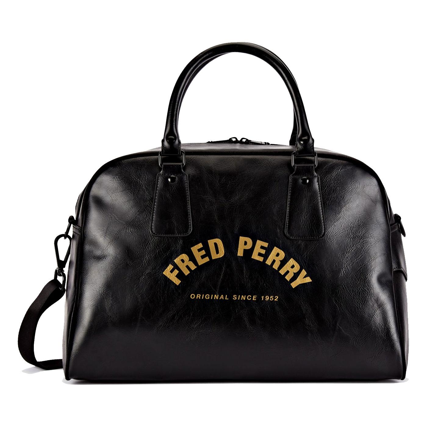FRED PERRY Retro Arch Branded Bowling Bag BLACK